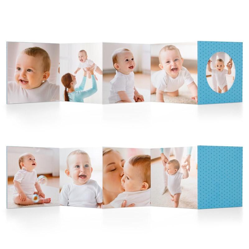 LIL BOOK - azzurro - Mini fotolibro a fisarmonica da 8,5X8,5 cm, disponibile in 4 colori, stampato in cartoncino spesso e dalla copertina rigida con pois a rilievo. Lil Book è un album foto pieghevole che ti permette di inserire fino a 9 scatti. Puoi provare il layout a foto piena (ideale per matrimoni, compleanni o altre ricorrenze), oppure quello con grafiche azzurre o rosa pensato appositamente per i bambini e le bambine.Tipo di carta stampa su cartoncino 300 grFormato 8,5 x 8,5 cmCopertina cartoncino rigido con pois in rilievo€ 9,90