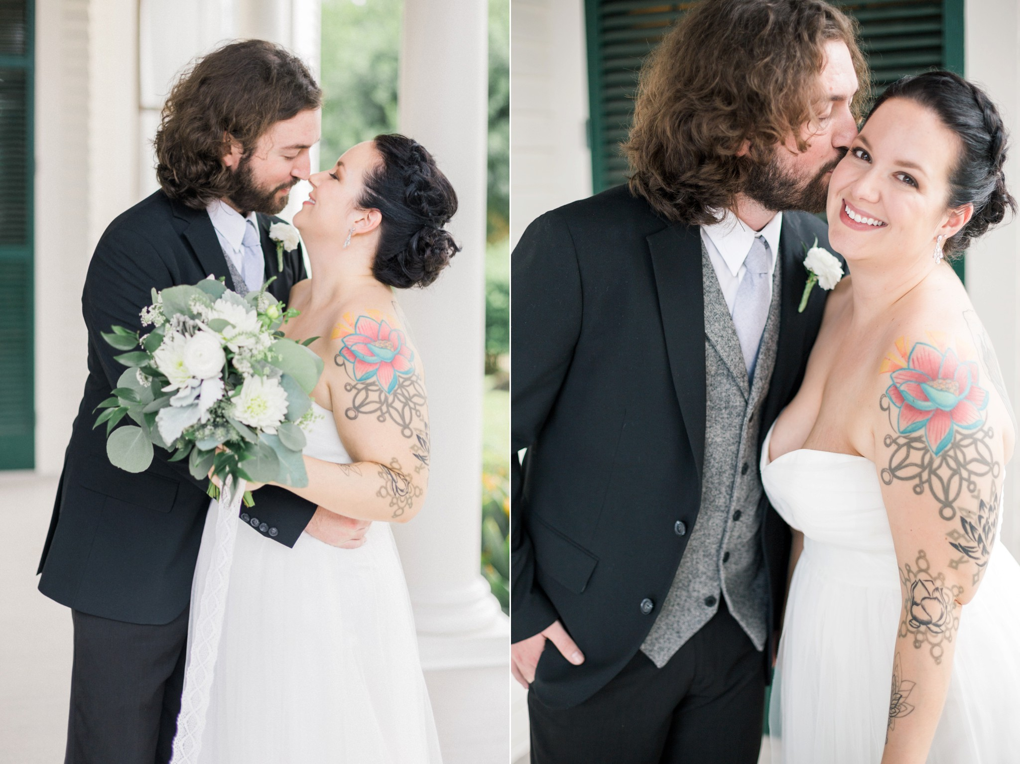 bride-and-groom-bhldn-jenny-yoo-bridal-gown-black-tux-gray-tie-wedding
