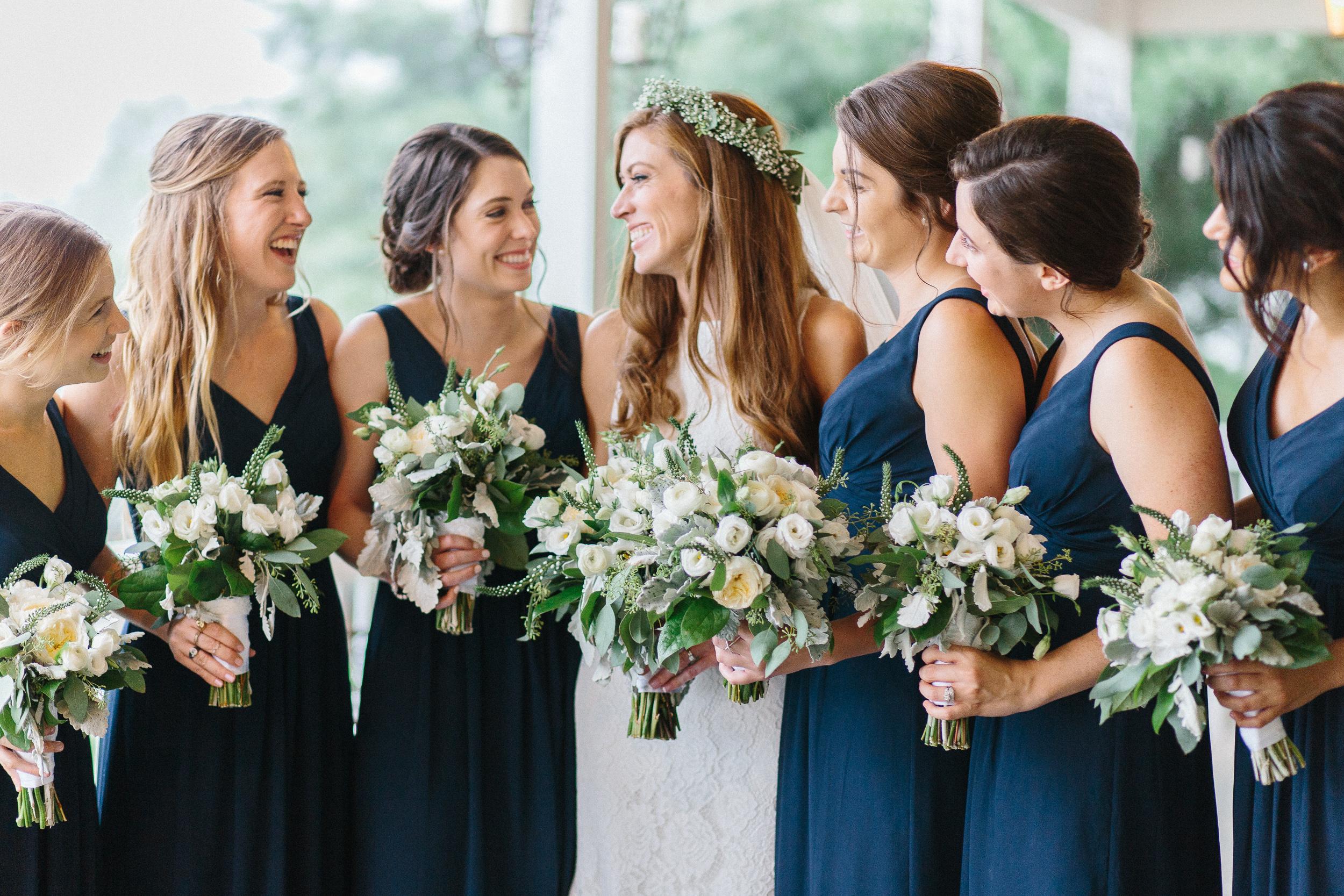 bride-and-bridesmaids-at-wedding-reception-bluemont-virginia