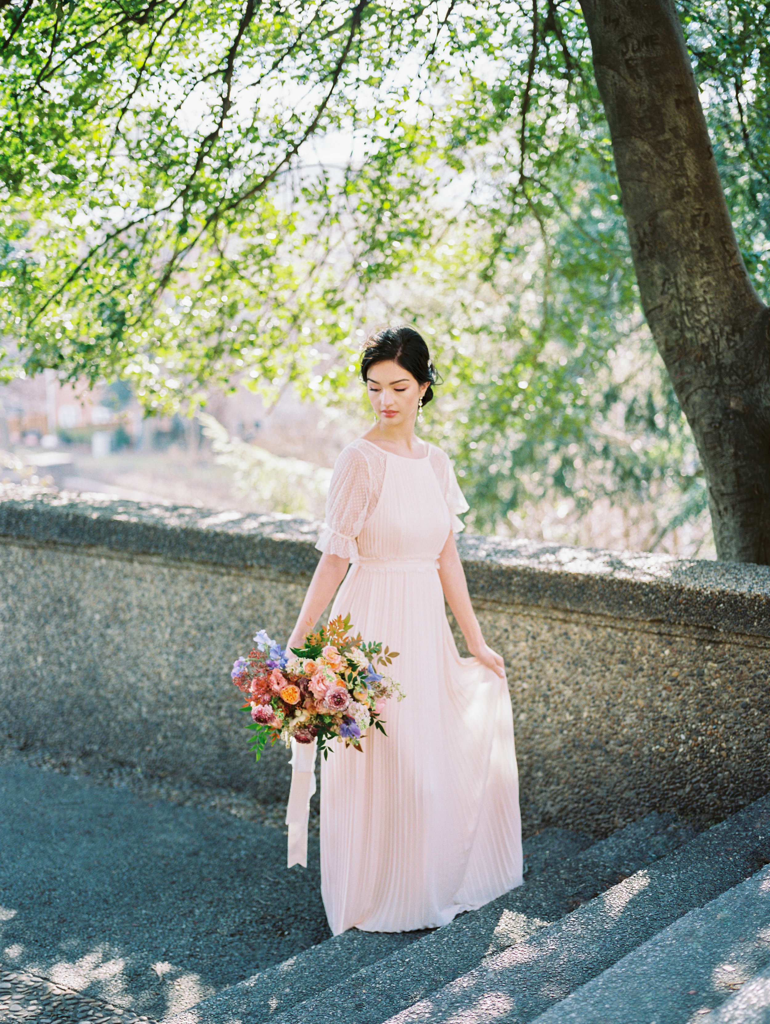 Early spring bridal inspiration at Meridian Hill Park in DC