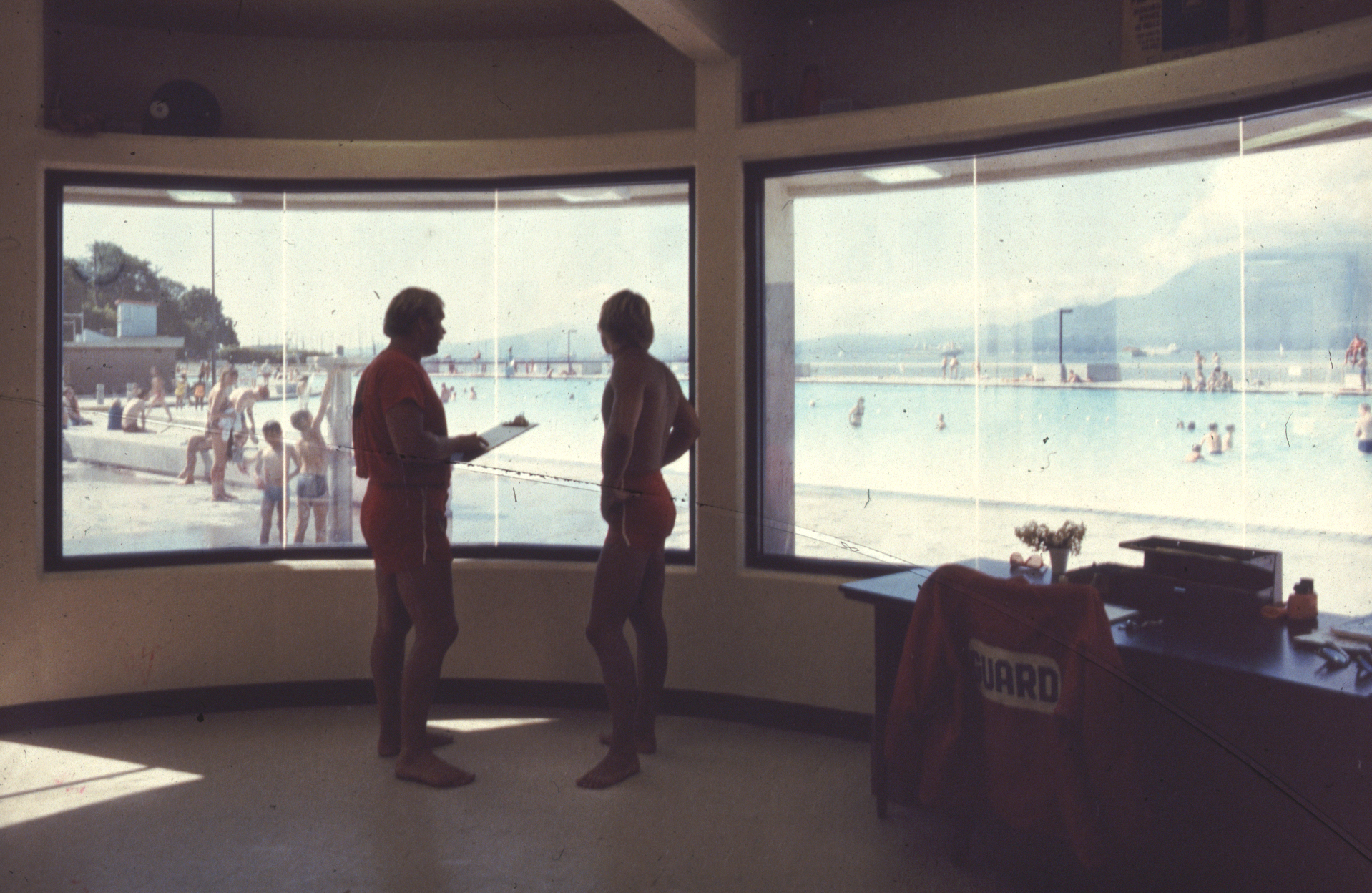The view from inside the lifeguard station, 1979.   Photo courtesy of Bingham + Hill Architects