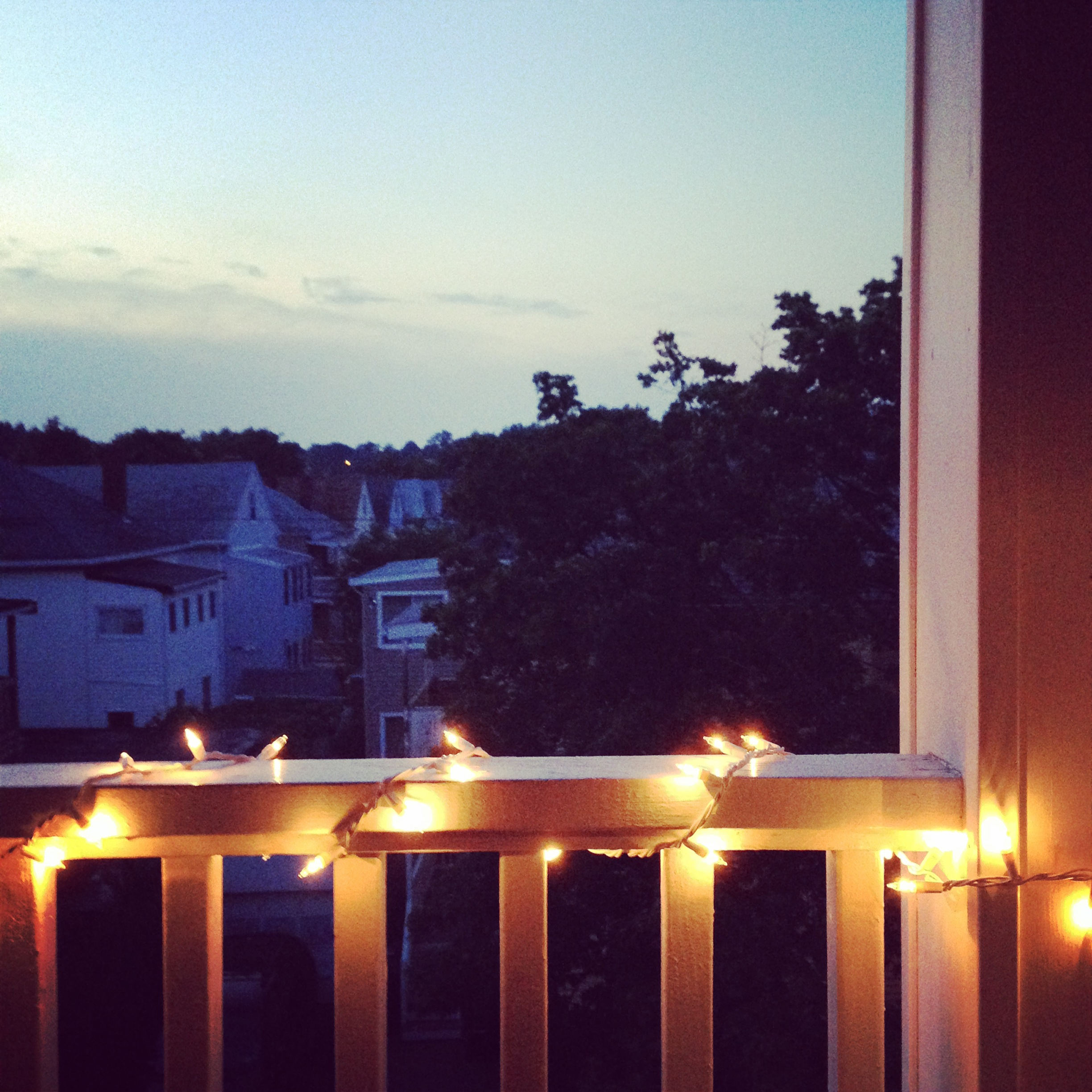 The view from our porch in Somerville, one summer night.