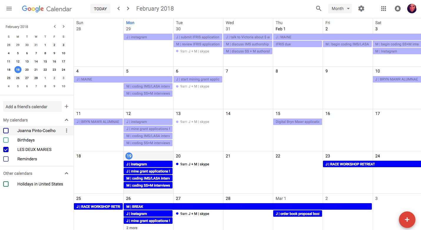 Our shared Google calendar for February 2018
