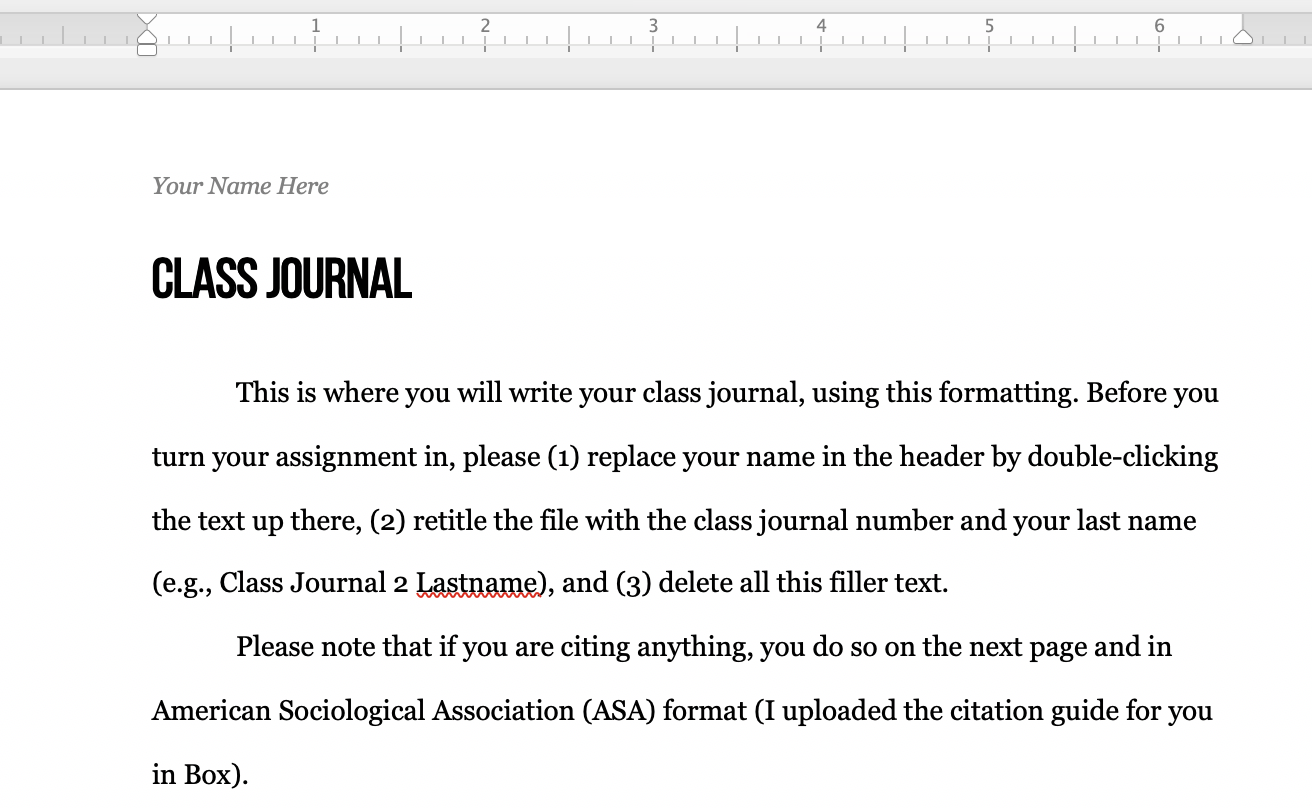 The class journal template I provide for students in all my undergraduate courses.