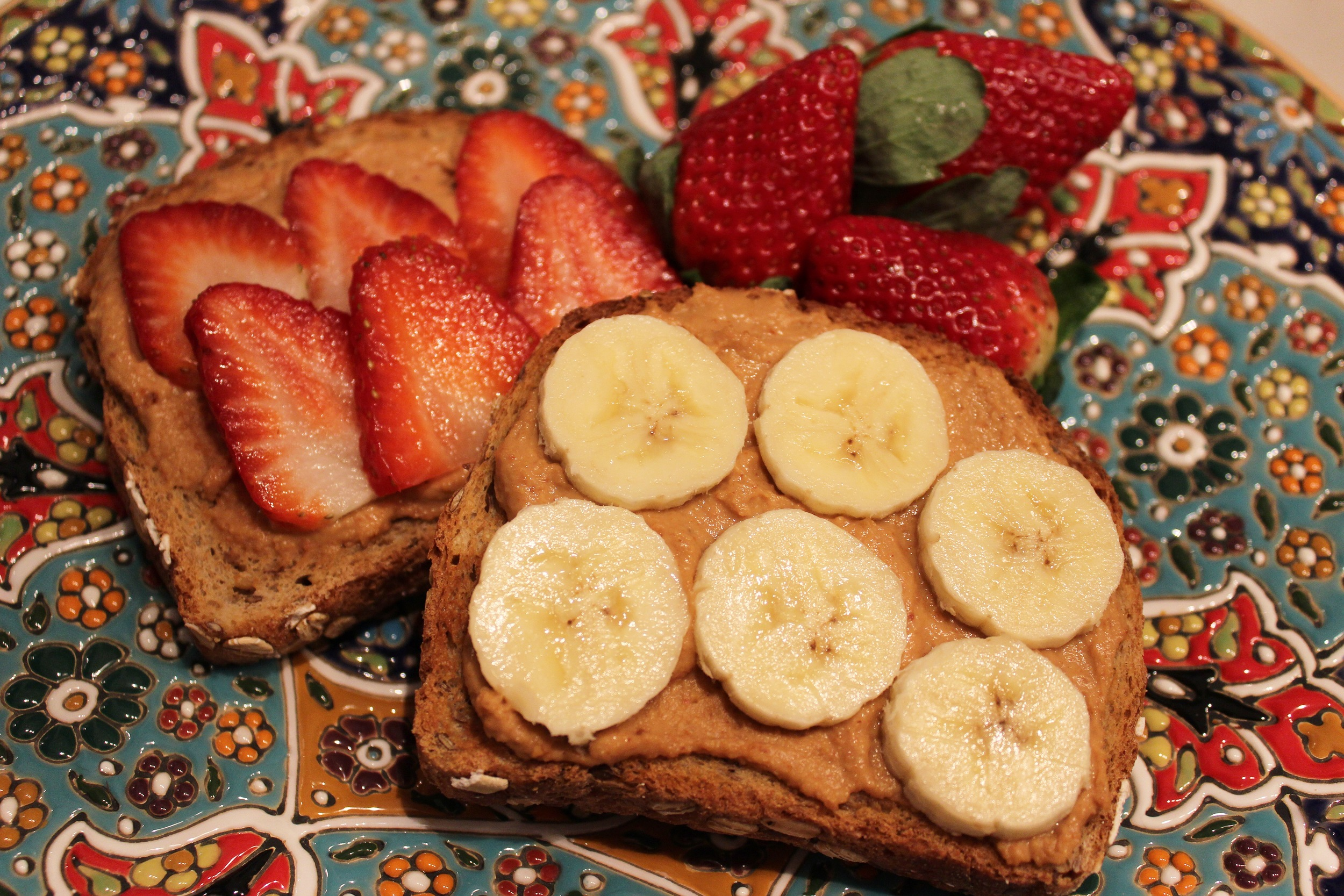 Strawberry and BananaPeanutButter Breakfast Sandwiches.