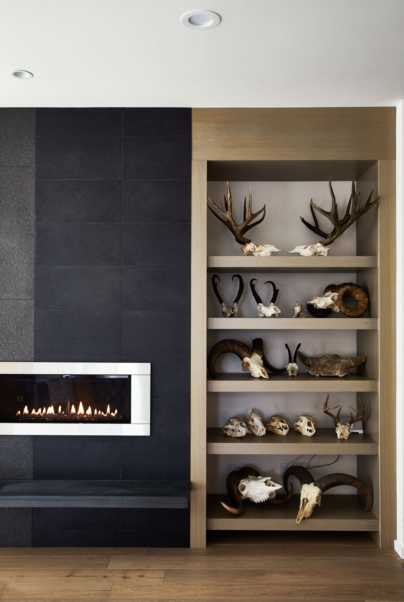 The custom oak veneer shelving was designed to hold specific skull sizes.  (Image to the right) In the entryway, a custom metal bench holds enough shoes for the whole family plus their frequent guests. A sculptural Mategot coat rack echoes the lines of the Elk skull. Sconces with walnut and brass details sit on either side. A large wood mirror completes the space.  (Image below) Modular white lacquer coffee table, and cowhide rug. An antique armoire that has been passed down in the family anchors the corner of the room and provides storage.