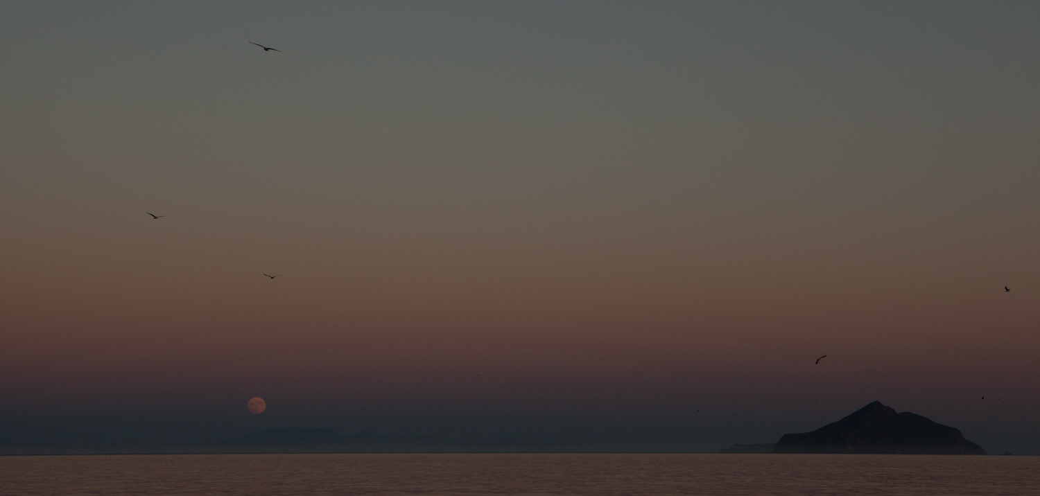 Looking east from Smuggler's Cove, Santa Cruz Island, to Anacapa Island and the almost super moon.