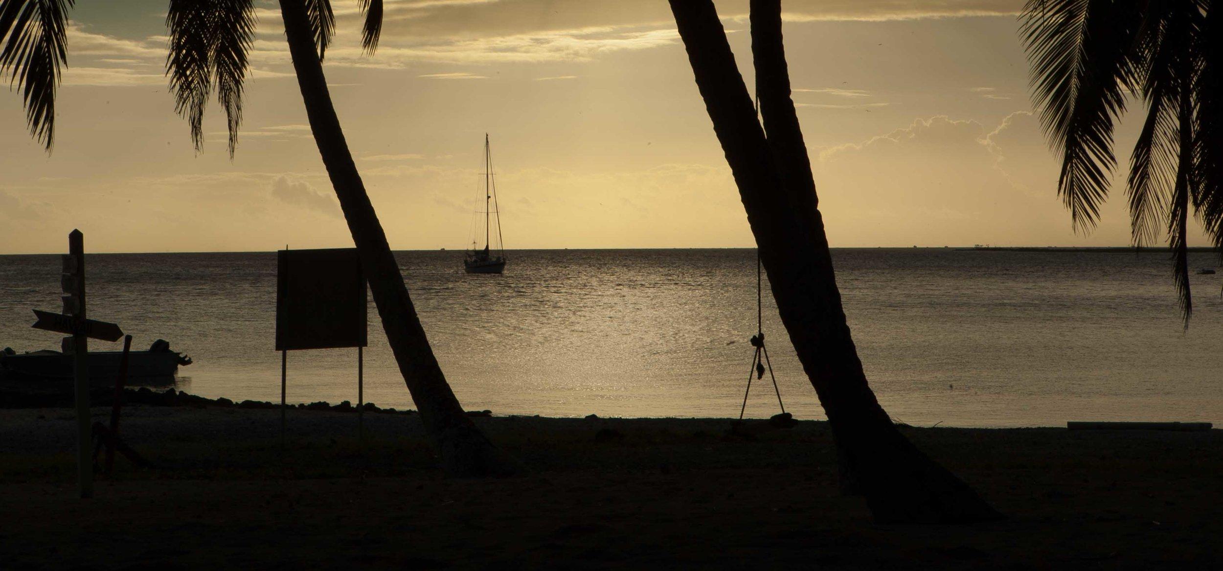 Tumbleweed at anchor, Suwarrow, Cook Islands.