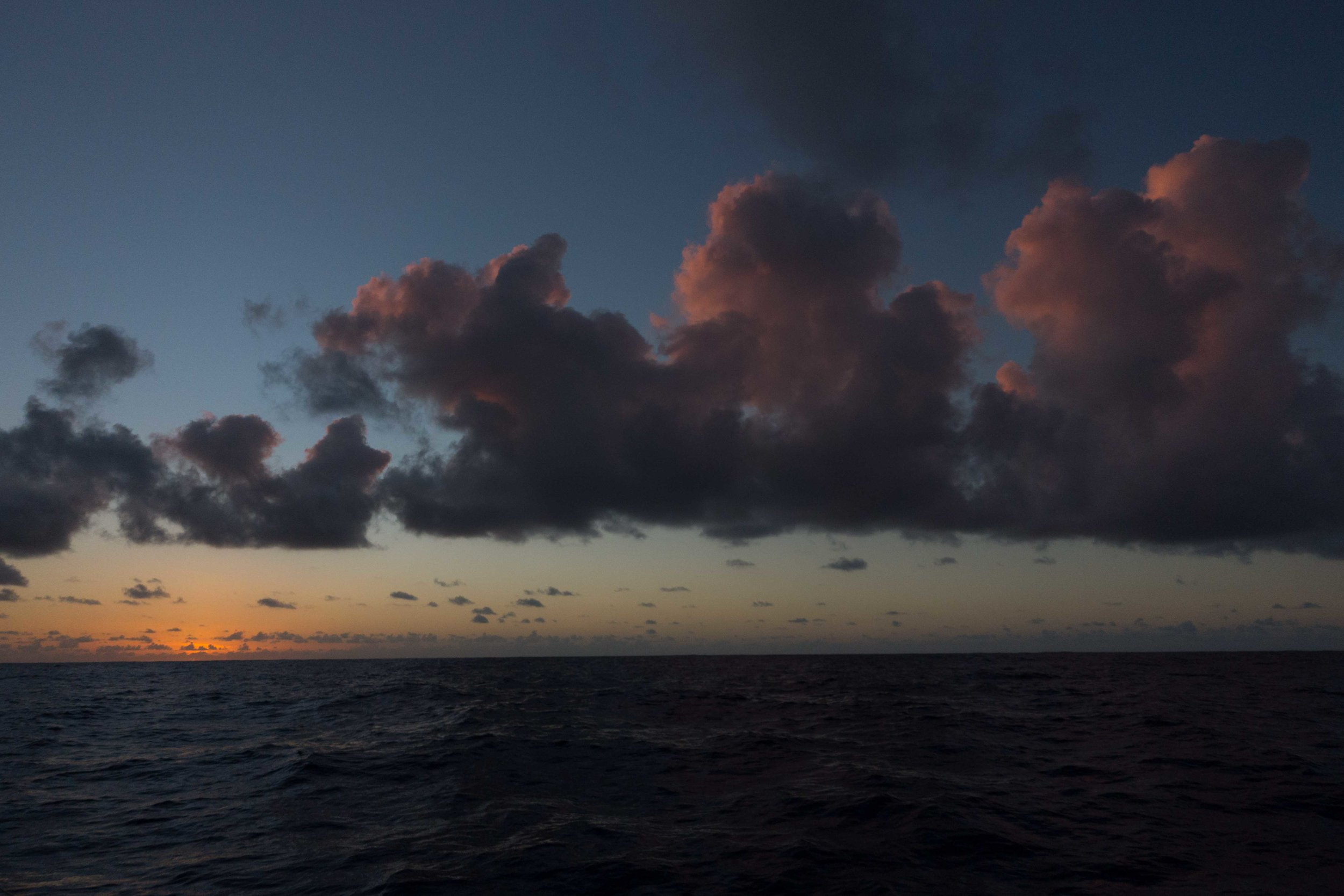A sunset at sea, outbound Suwarrow, inbound Pago Pago