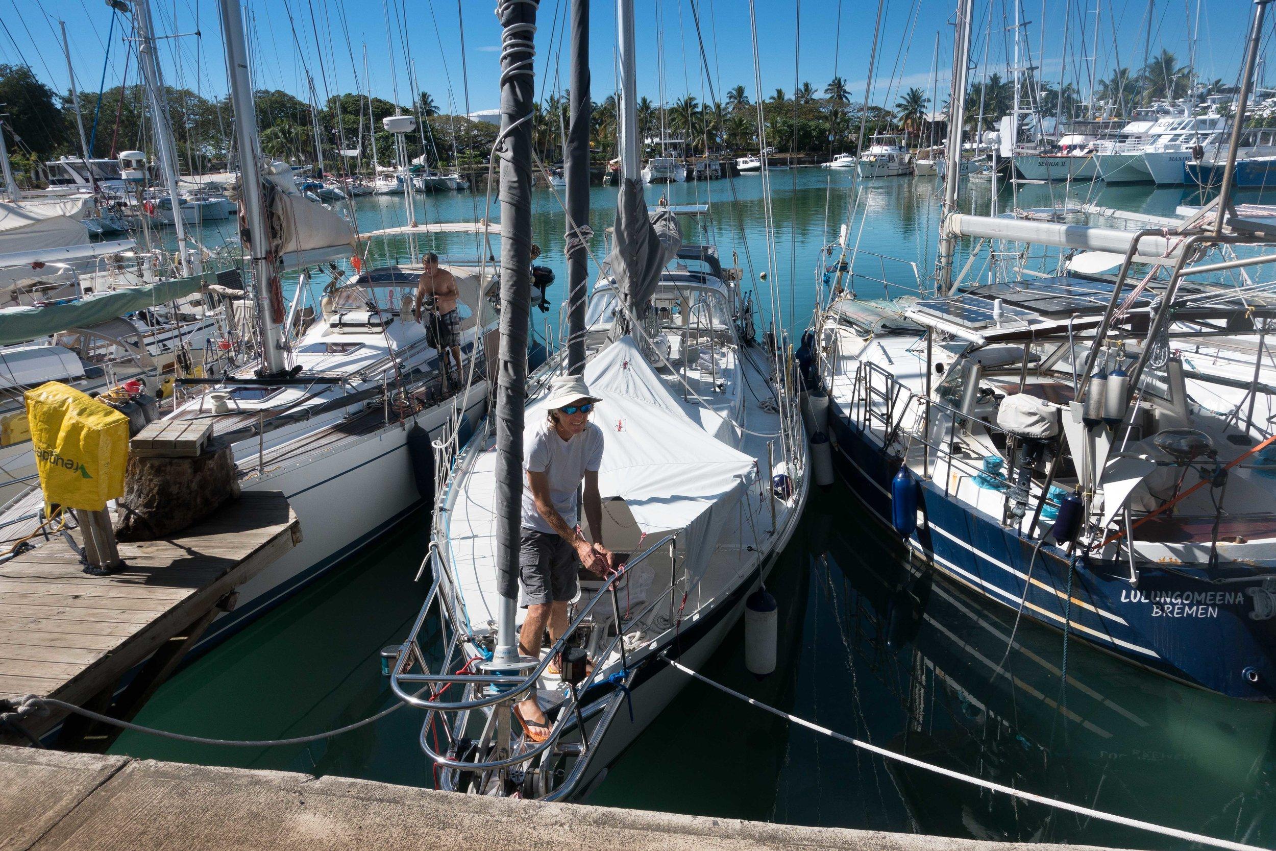 Douglas at Vuda Marina. Exciting at low tide when bringing things ashore.