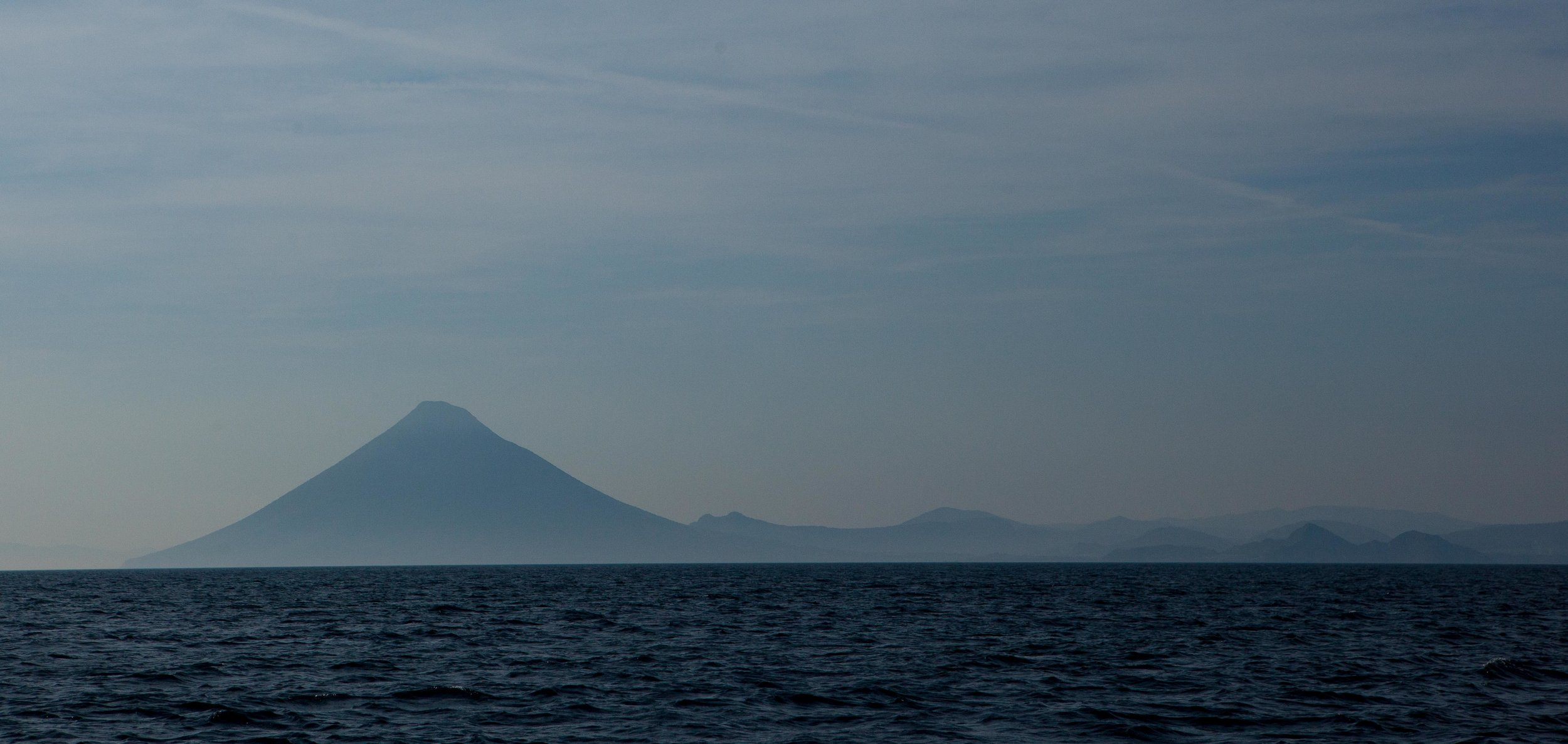 The volcano Mt. Daimon from the sea as we made our way to Yamagawa.