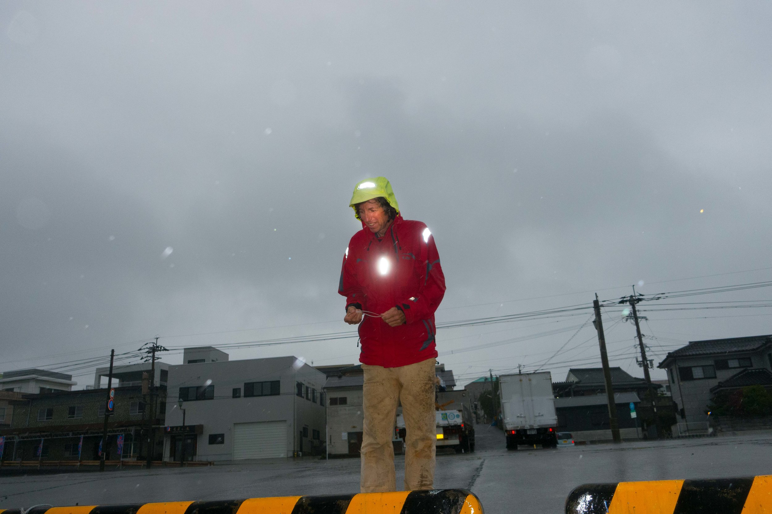 Rainy day in Makurazaki. It was a real event getting alongside this seawall safely.