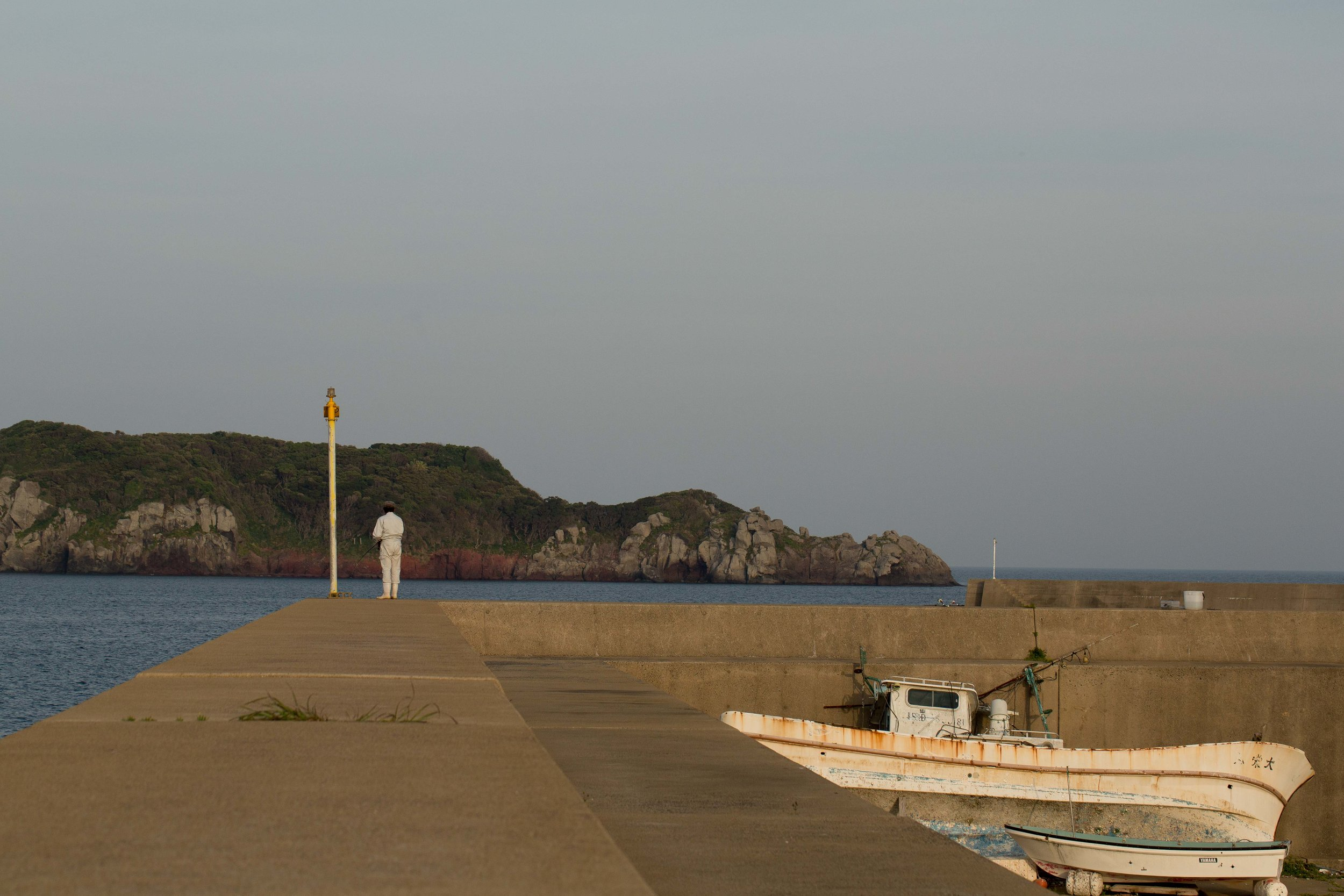 The seawall that shelters the Ukeshima marina