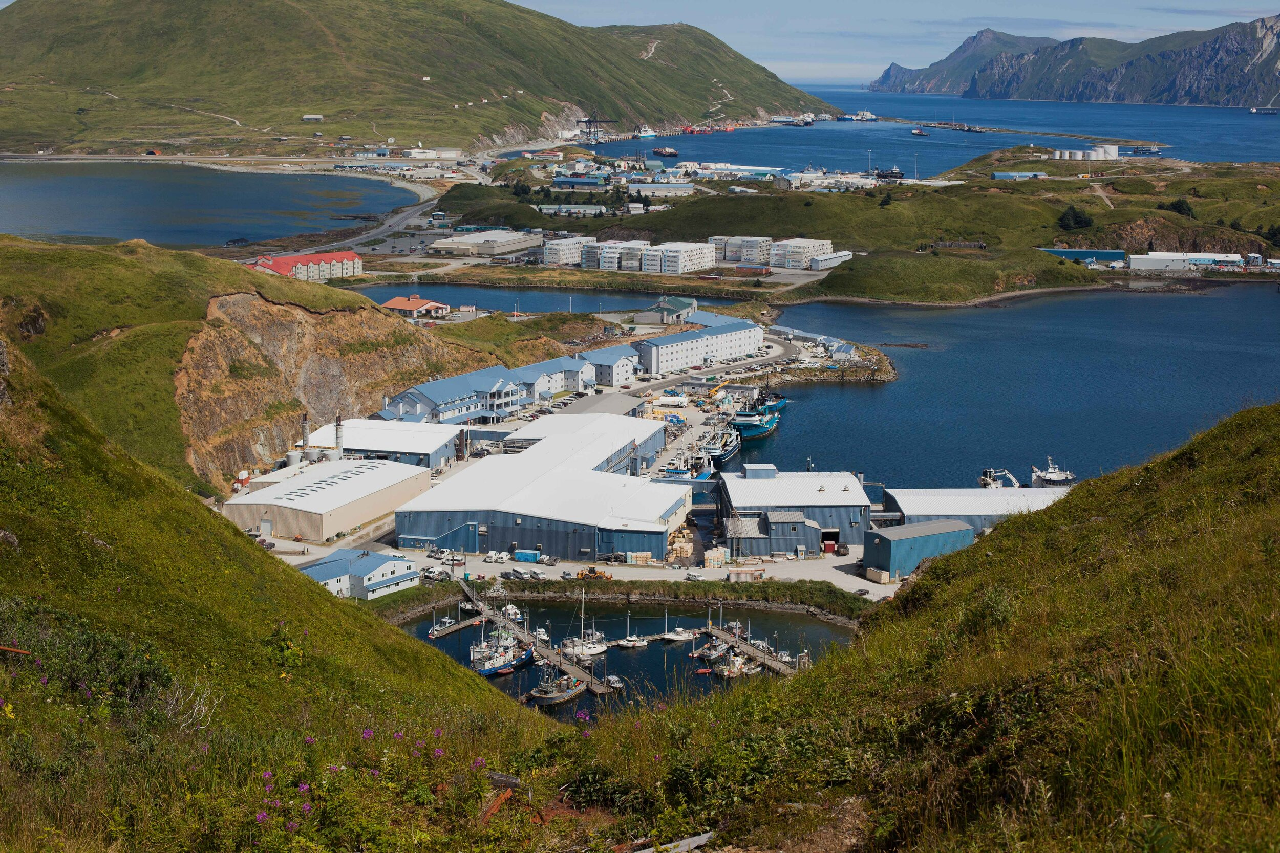 Dutch Harbor has areas with canneries and commercial buildings, but the islands and landscape around the community are still wonderfully raw and pristine. The imprint of the community is relatively small.