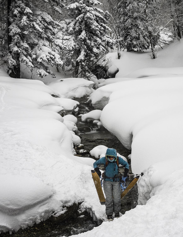 Geothermal Heated Waters make for Interesting Creek Crossings - Mt. Furano-dake - Kristin