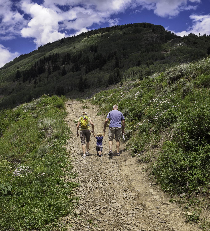 Helping Grandma & Grandpa up the Hill - Declan