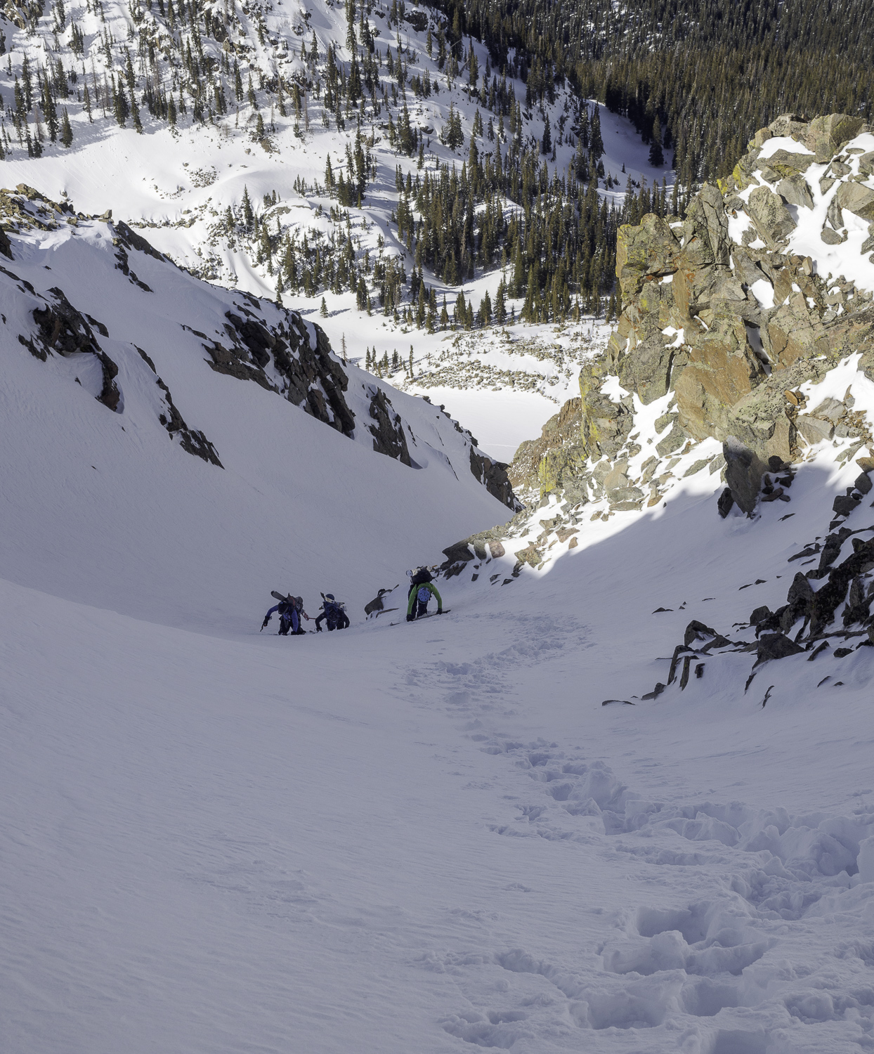"""The """"S"""" Curve about 500' from the Topout - Jamie, Dave, Andrew"""