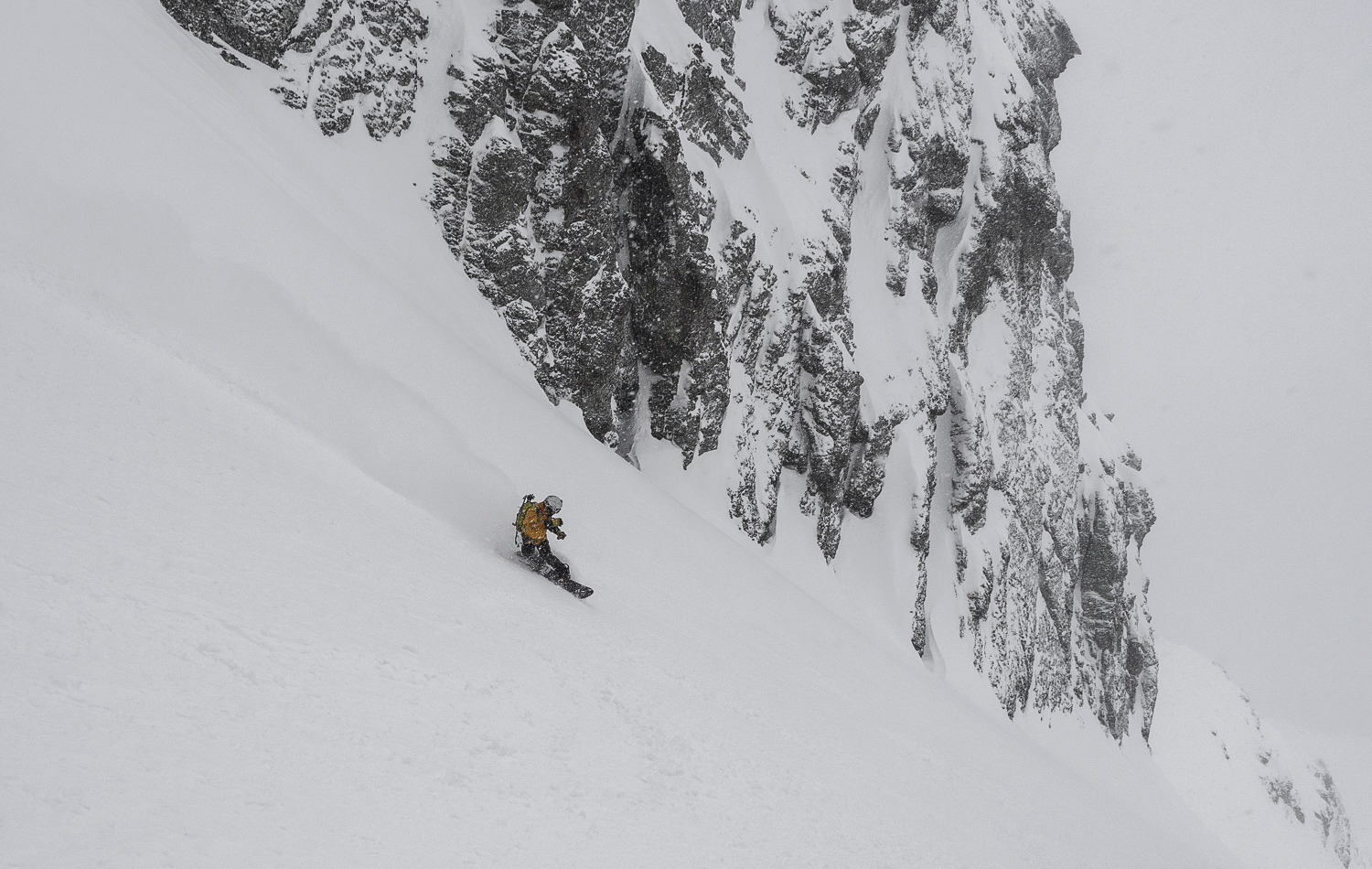 About a foot of fresh collected in the chute during our climb - Todd