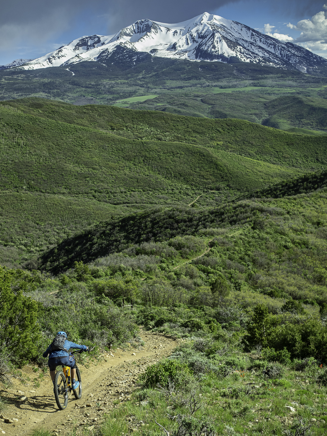 Father of Ginormous trail with Mt Sopris dressed in white - Joel
