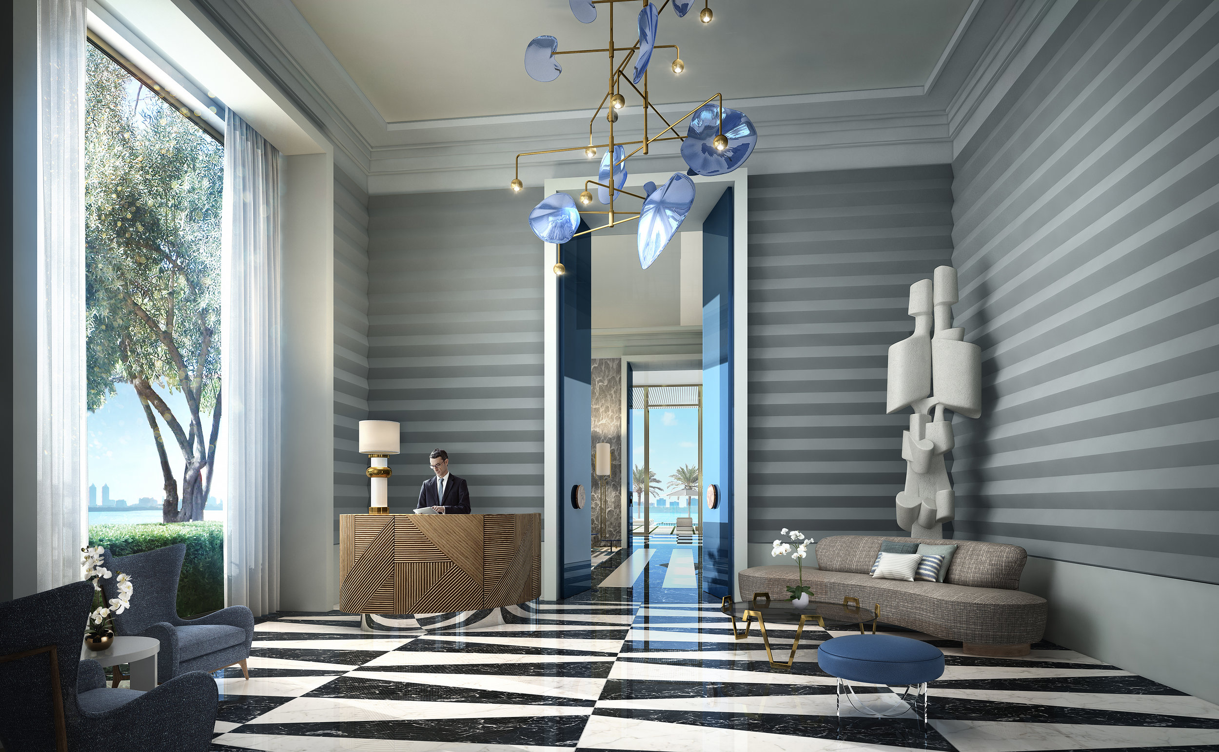 Grand Marble Lobby with 13-Foot Ceilings