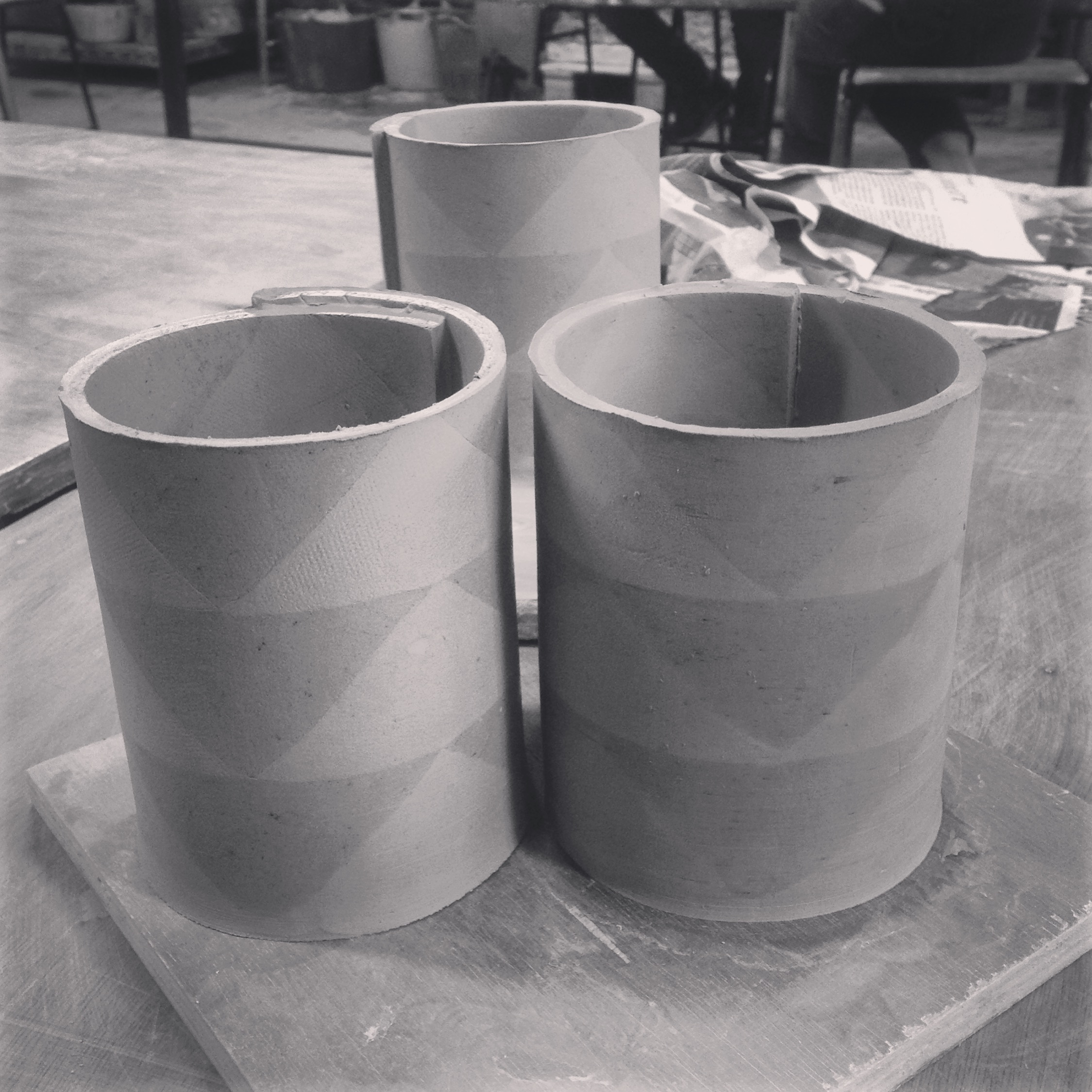 Lazy Glaze hand built stained clay pots.