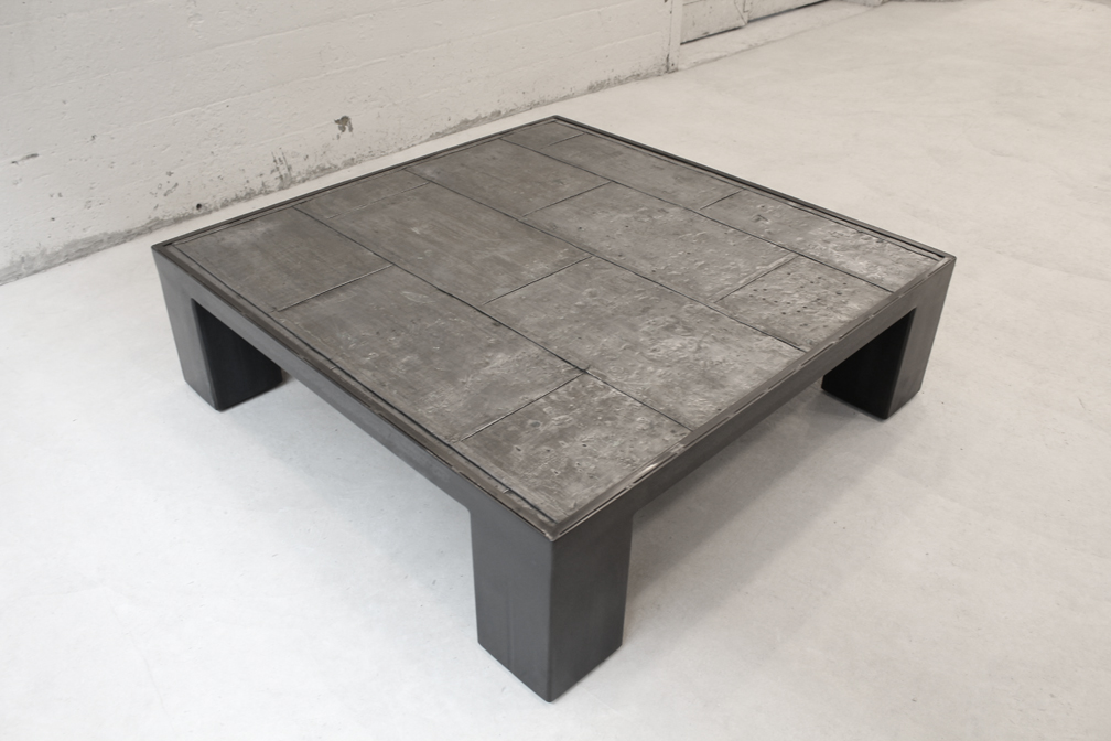 Steel and reclaimed elevator door table realized by ATH Studios. Design concept by Aya Matsumoto of TPG Architecture.
