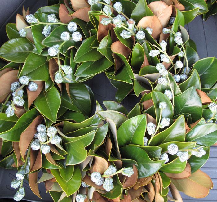 magnolia wreath with eucalyptus berries