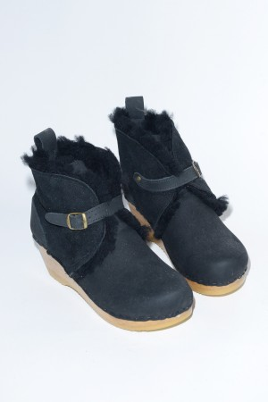 One Strap Shearling Boot on Mid Wedge in Soft Black