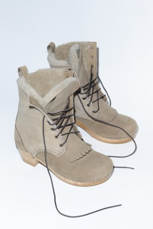 "No. 6 8"" Lace Up Shearling Boot on Mid Heel in String"