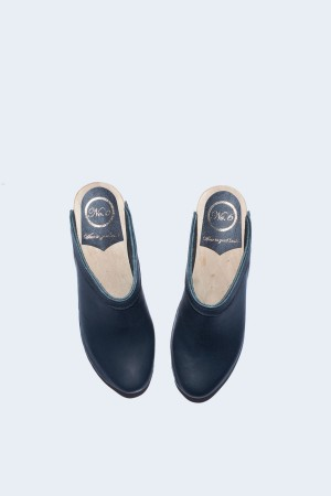 No. 6 Old School Clog on High Heel in Black