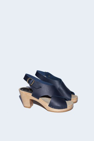 No. 6 Crossover Clog on High Heel in Indigo