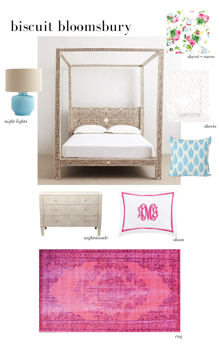 Lulu and Georgia Lamp   |   Anthropologie Bone Inlay Four-Poster Bed   |   Biscuit Home Bloomsbury Duvet Pink   |   Biscuit Home Amber Sheets   |   Furbish Studio Blue Spotted Pillow   |   1st Dibs Shagreen Chest   |   Biscuit Home Pink Border Sham   |   Rugs USA Pink Overdyed Rug