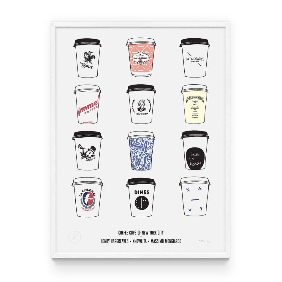 New York Famous Coffee Cups Print Knowlita