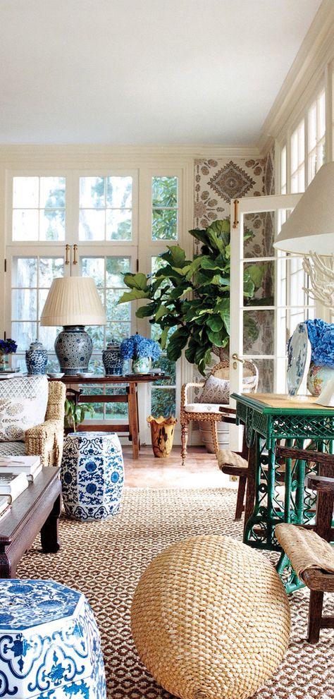 Blue and White Sunroom