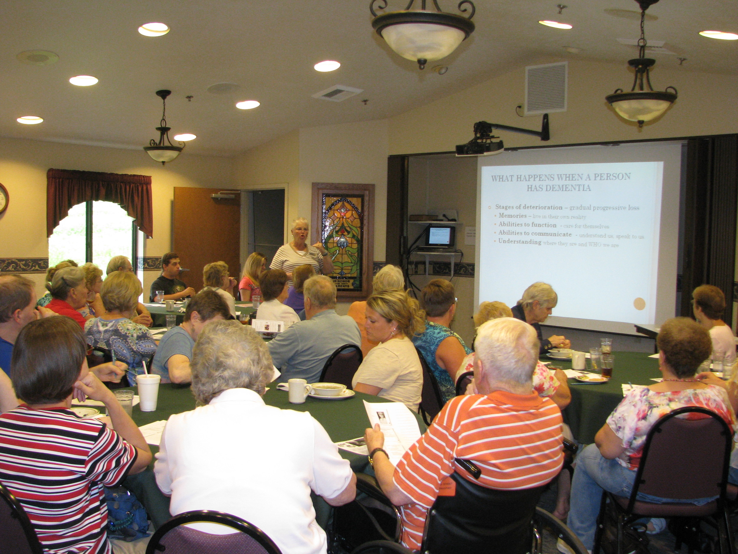 Nationally known speaker, Kay Lynne Ege educates on Dementia at the Rolling Fields Speaker Series.