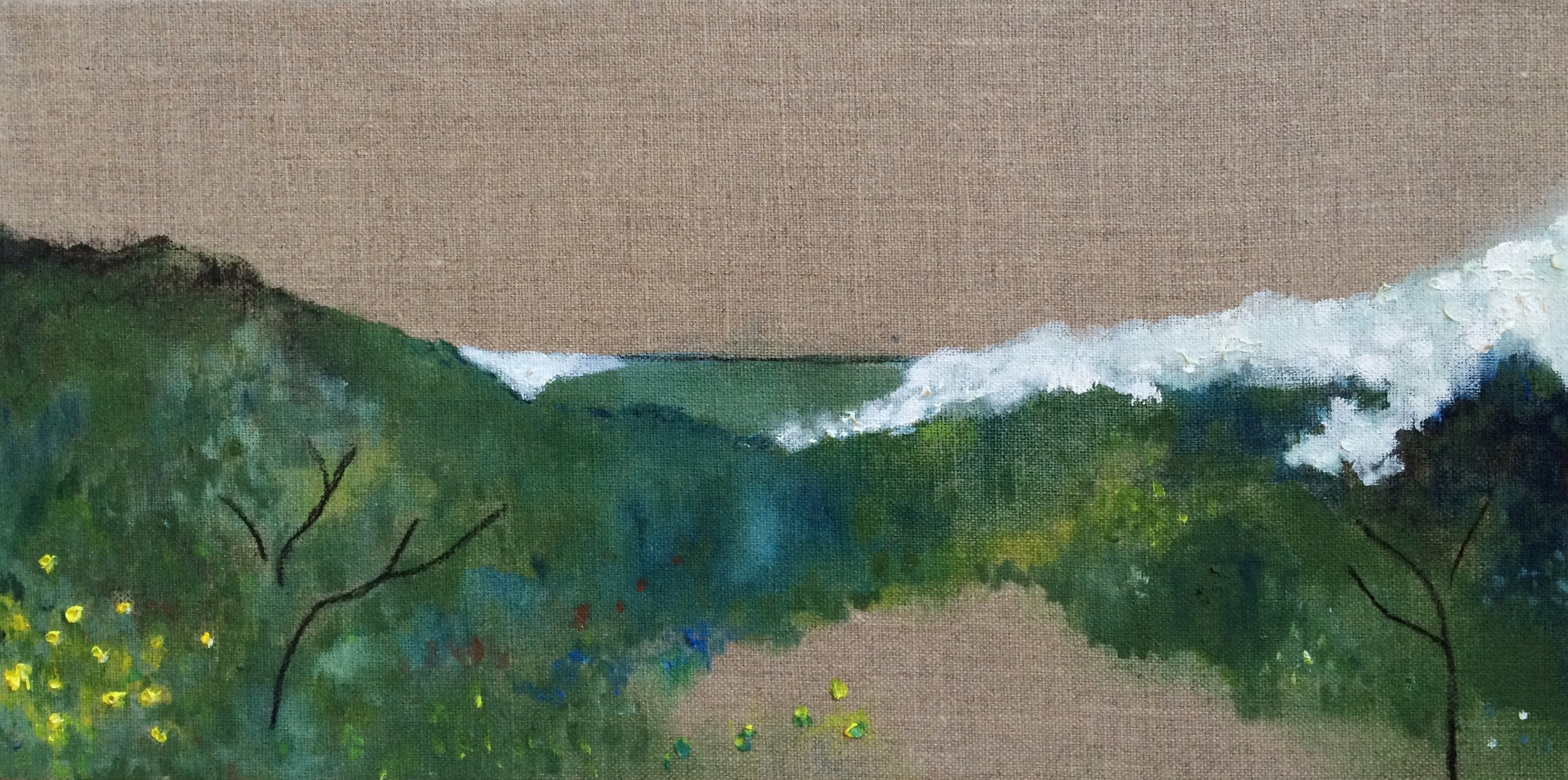 Blue Landscape I, oil paint and charcoal on linen, 20cm x 40cm