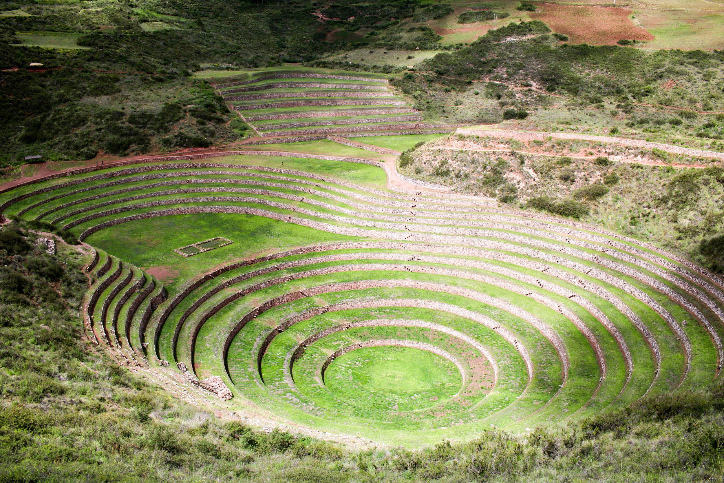 Restored Moray Terraces in the Sacred Valley, Peru