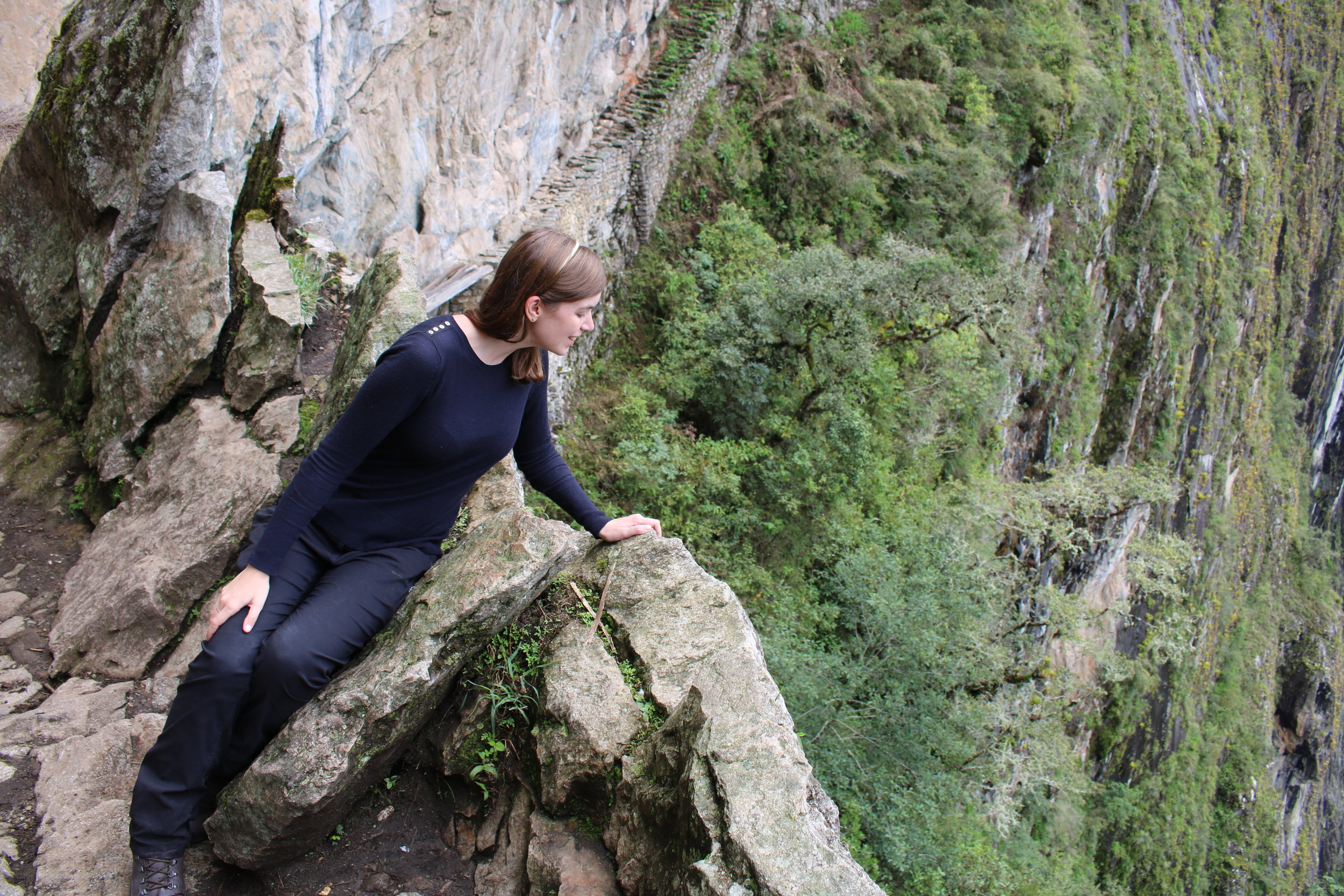 Facing Fears at the Inca Bridge, Machu Picchu, Peru