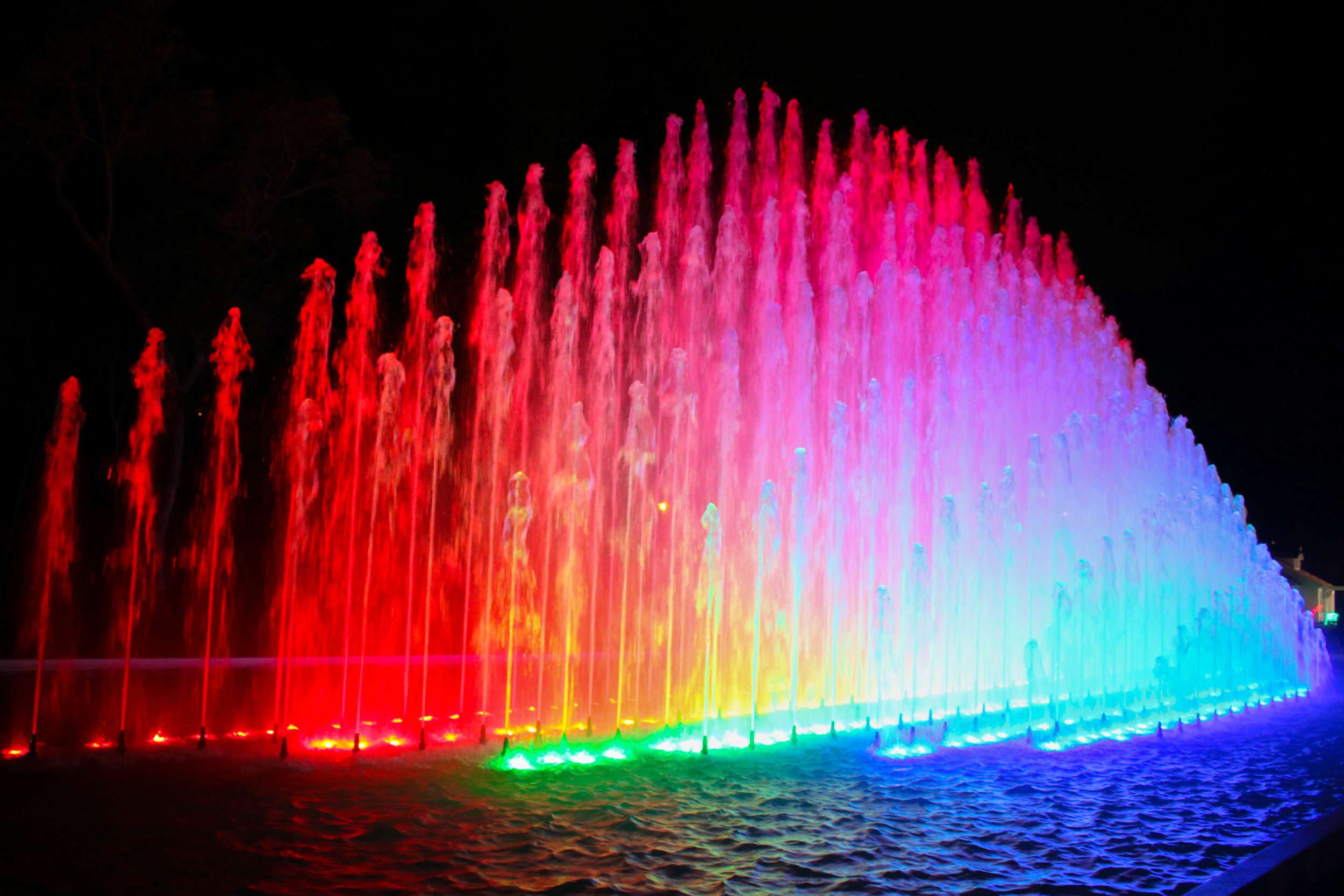 Rainbow Colours at the Water Fountain Show in Lima, Peru