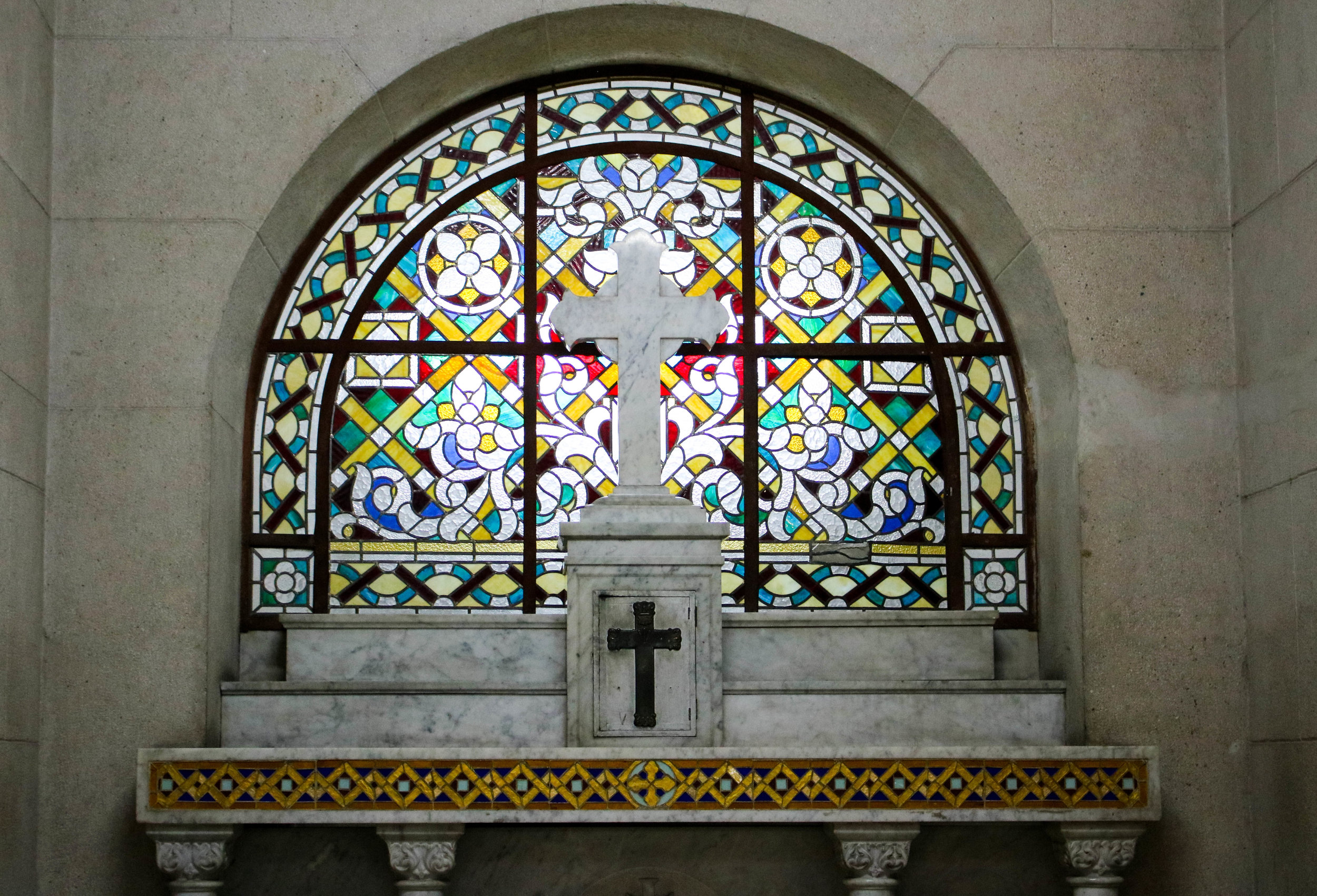 Stained Glass Inside a Church in Lima, Peru