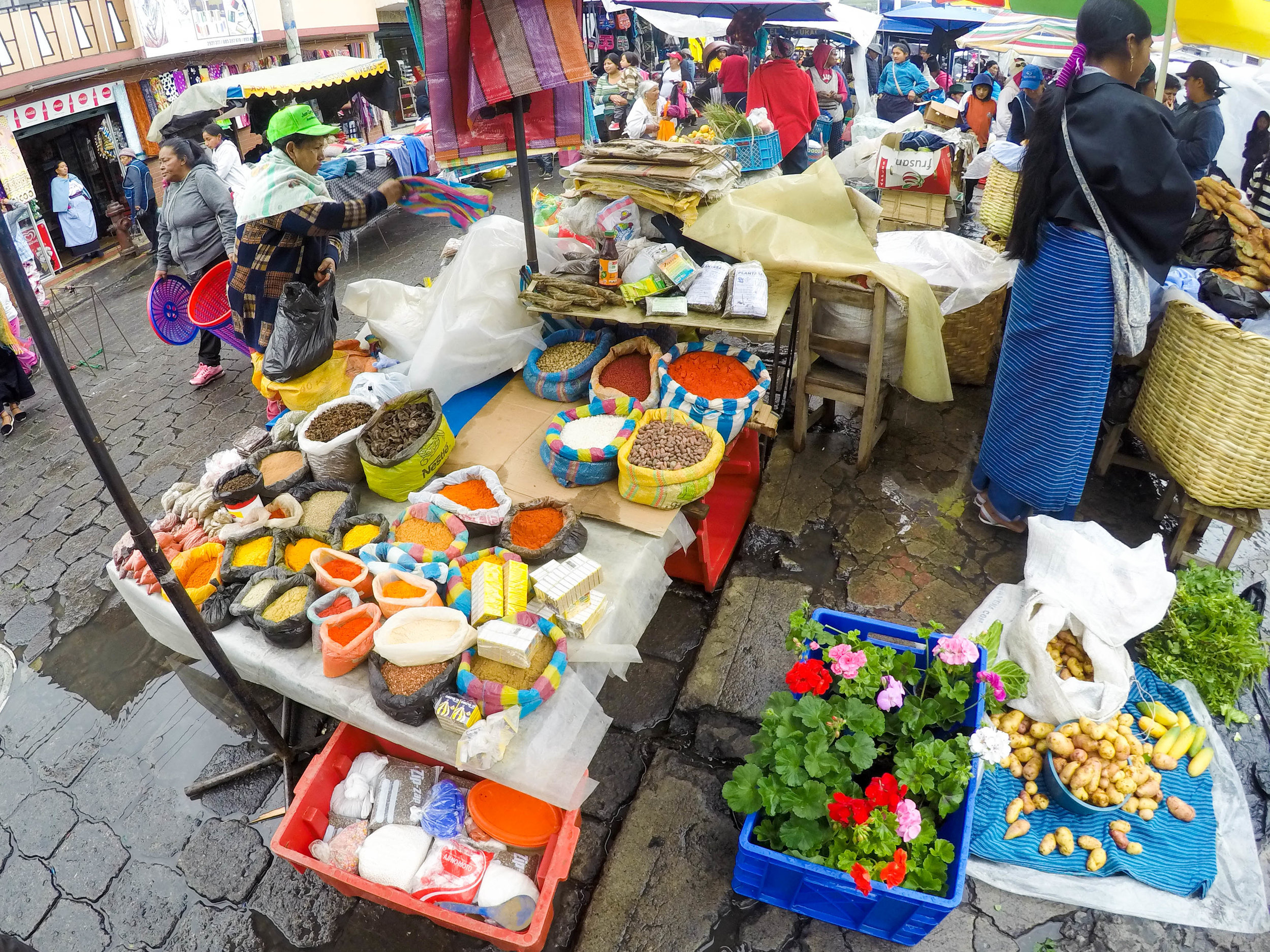 Spices and Flowers at Otovalo Market, Ecuador
