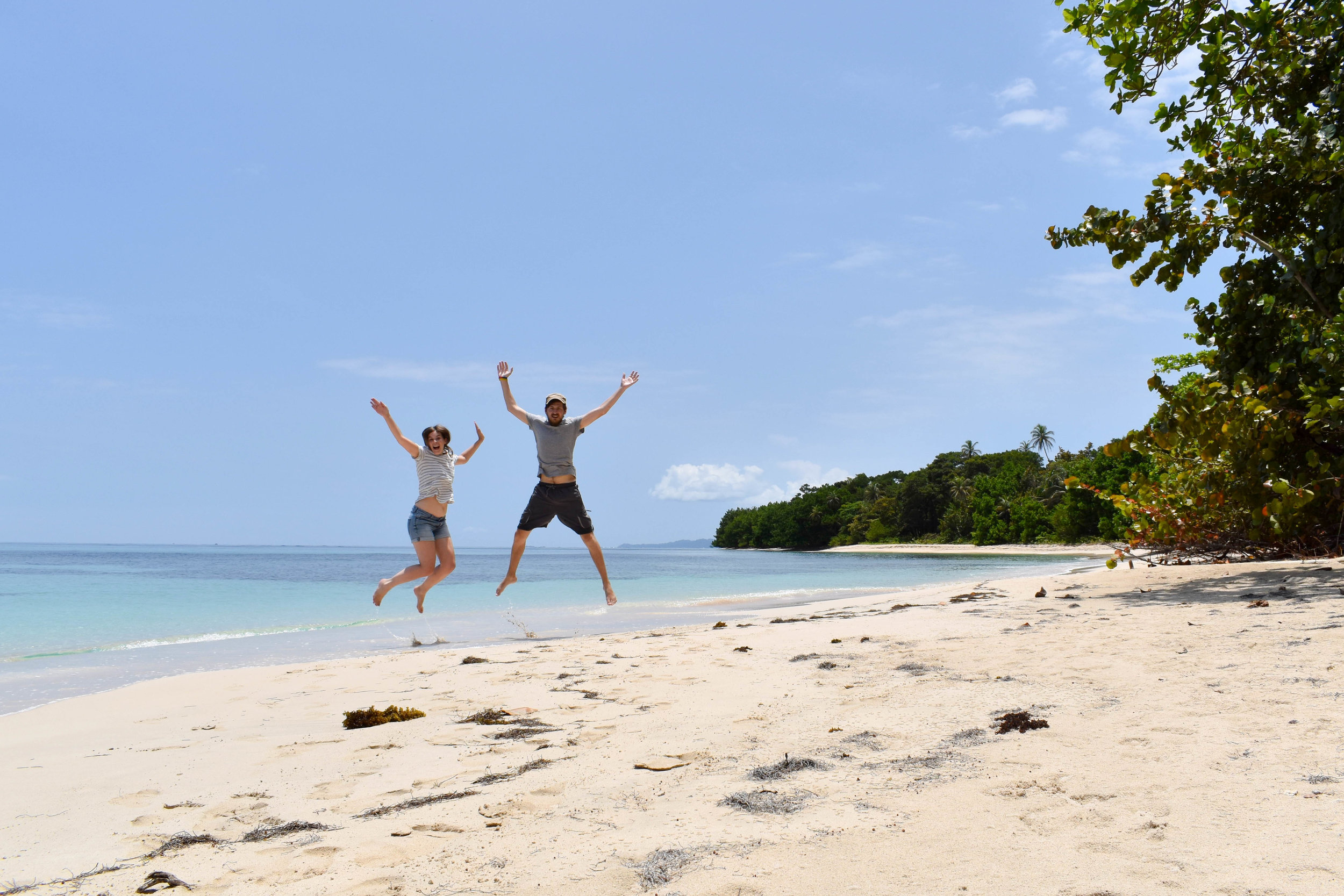Jumping for Joy on Cayo Zapatilla in Panama