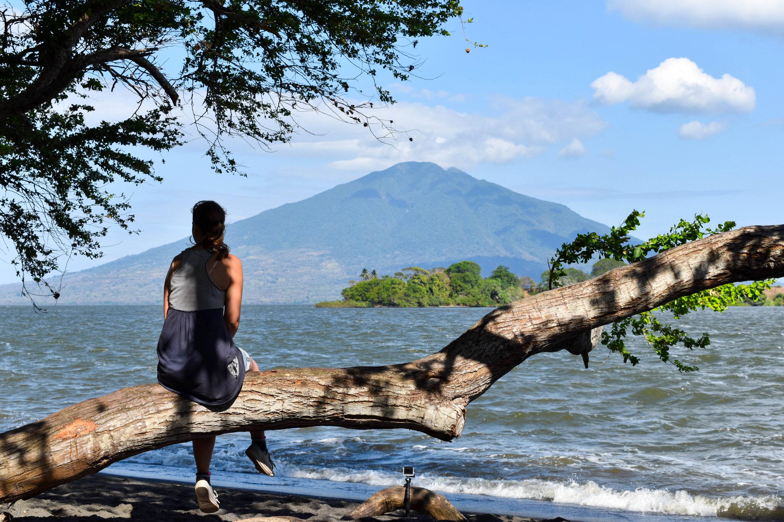 Nature's Bench Overlooking a Volcano in Nicaragua