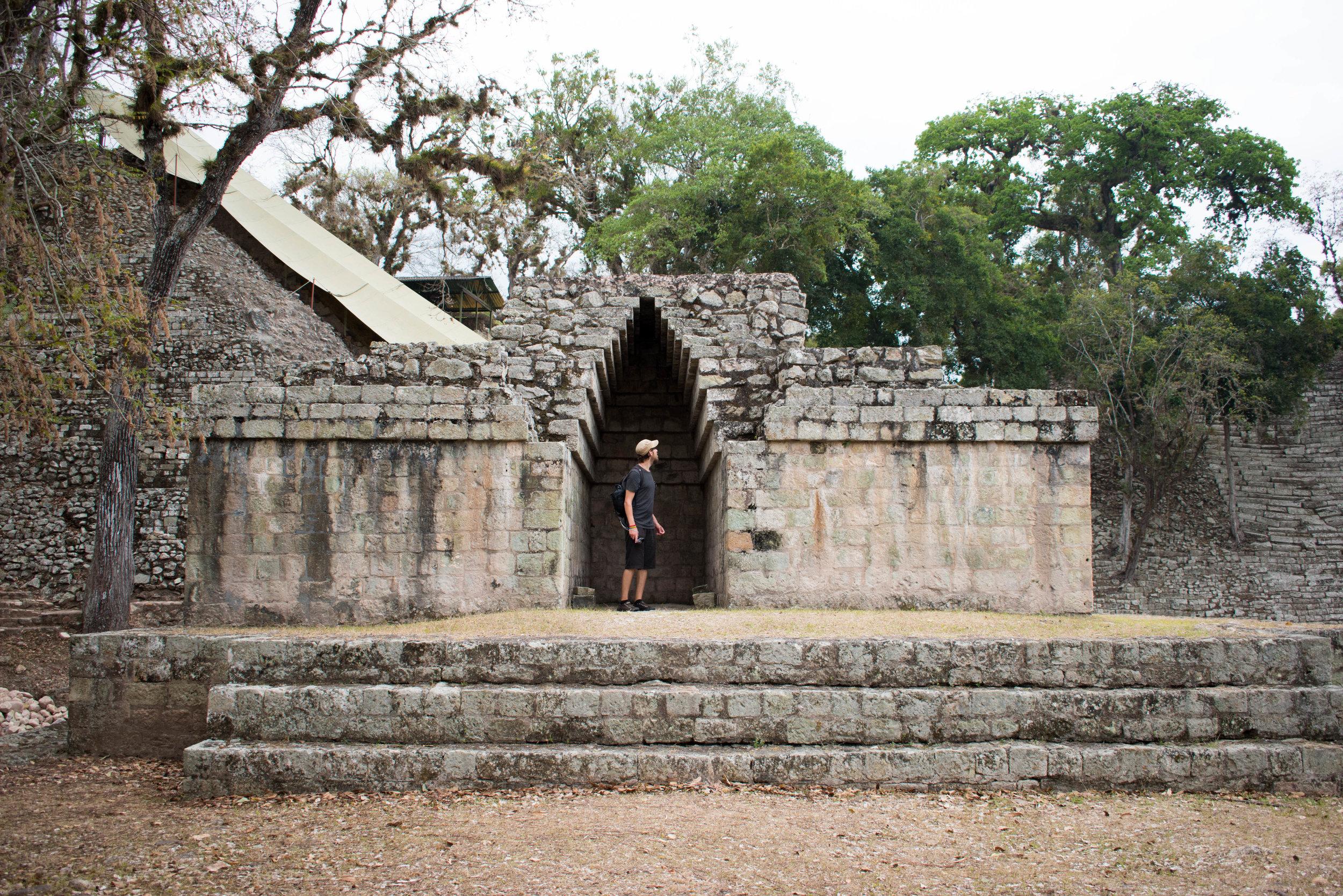 Craig Exploring the Nooks and Crannies of Copán, Honduras