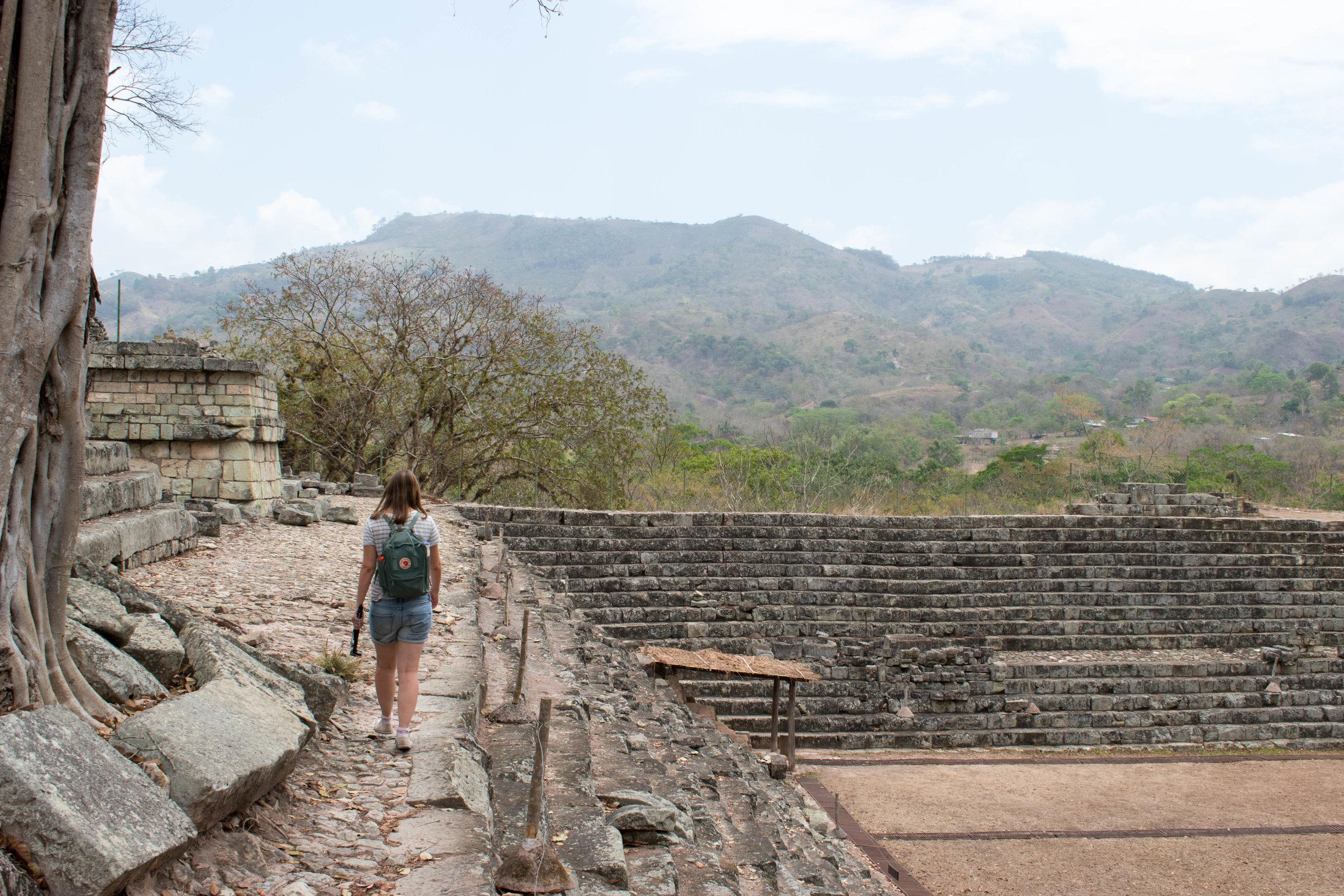 Walking Along Walls and Admiring Views in Copán, Honduras