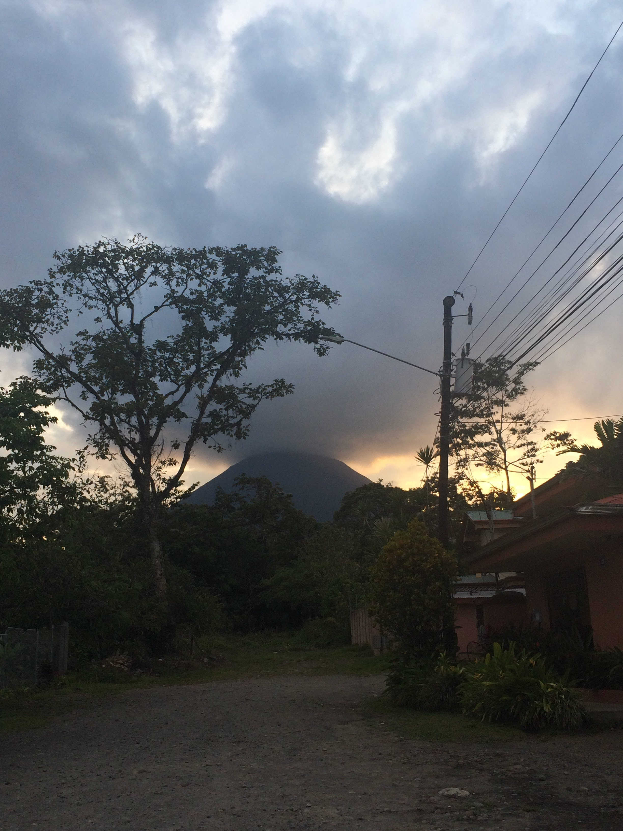 The Setting Sun and Arenal Volcano in La Fortuna, Costa Rica