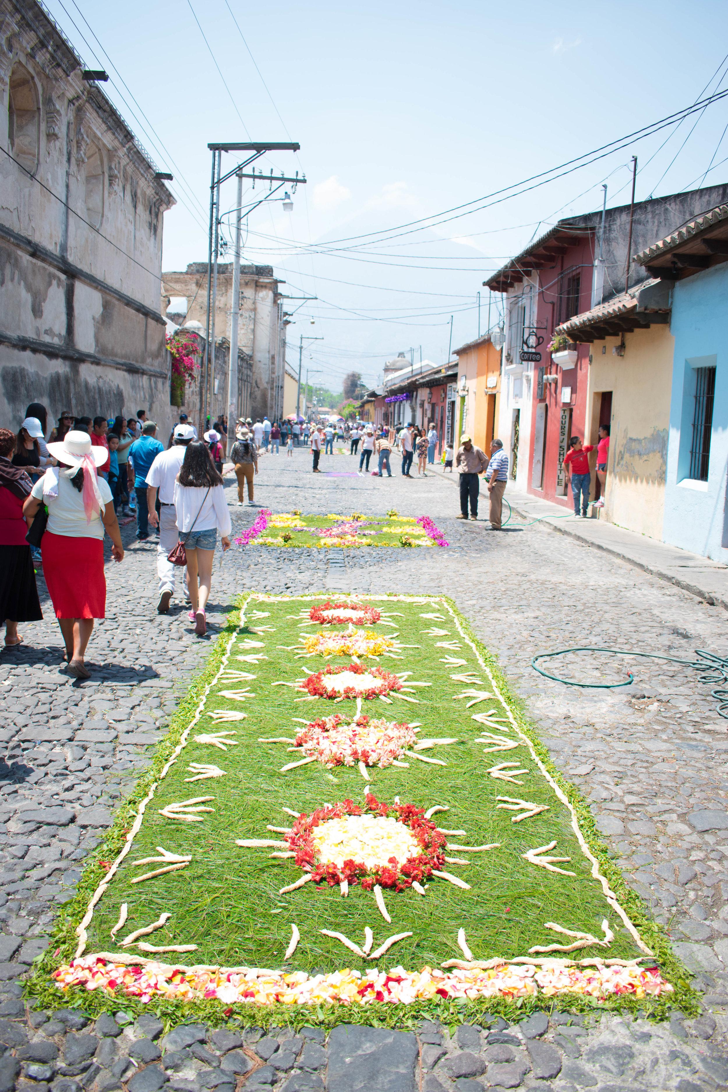 Colourful Carpets in Honour of Semana Santa in Antigua, Guatemala