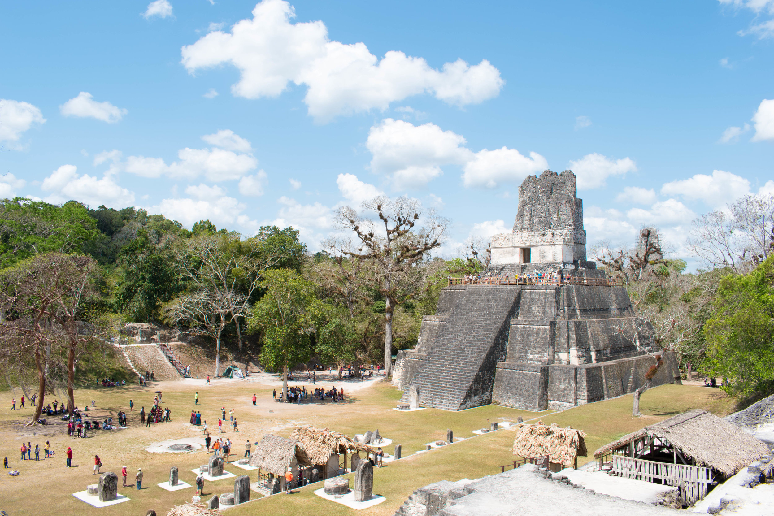 Temple II and the Great Plaza in Tikal, Guatemala
