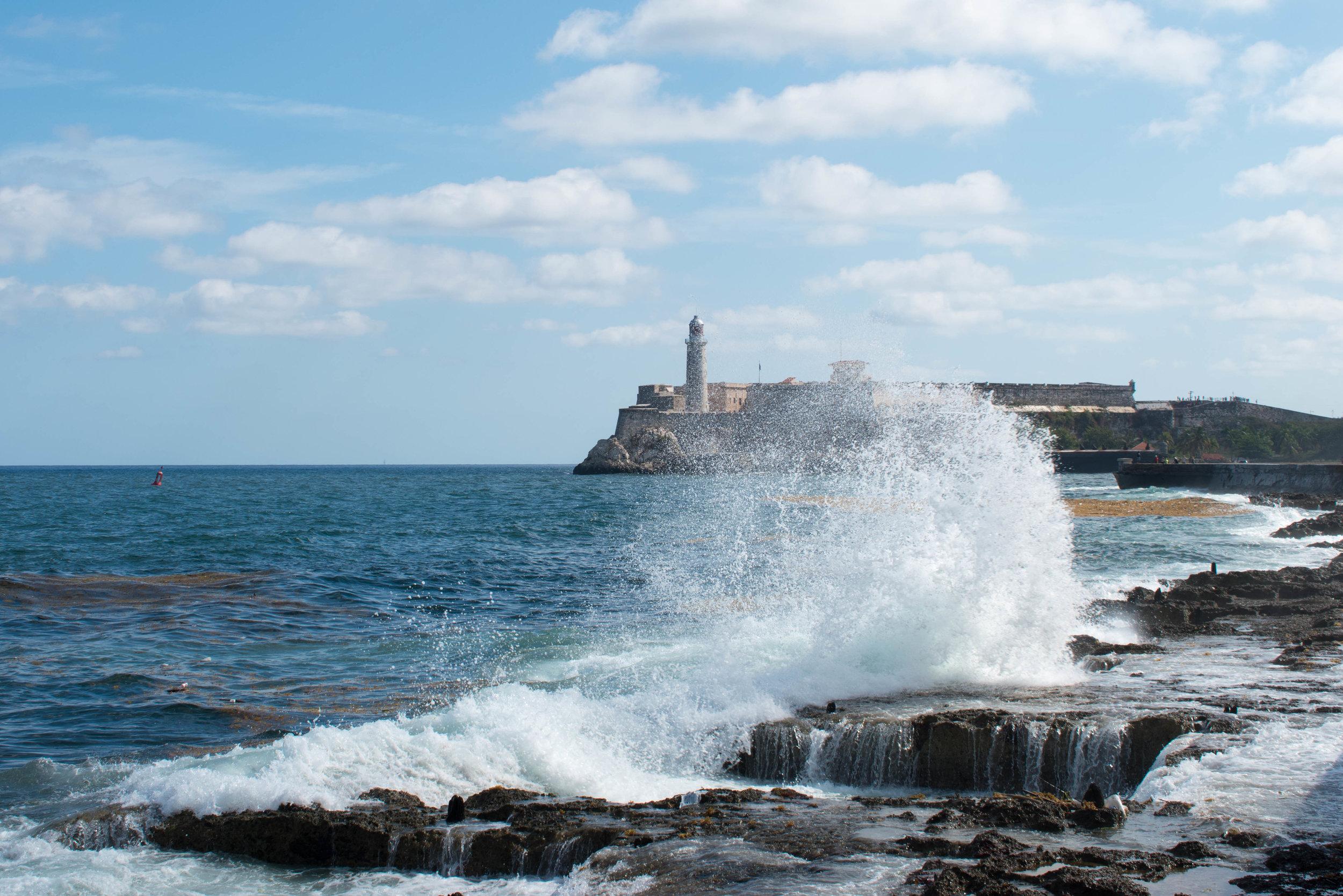 Waves Break At The Sea Wall in Havana, Cuba
