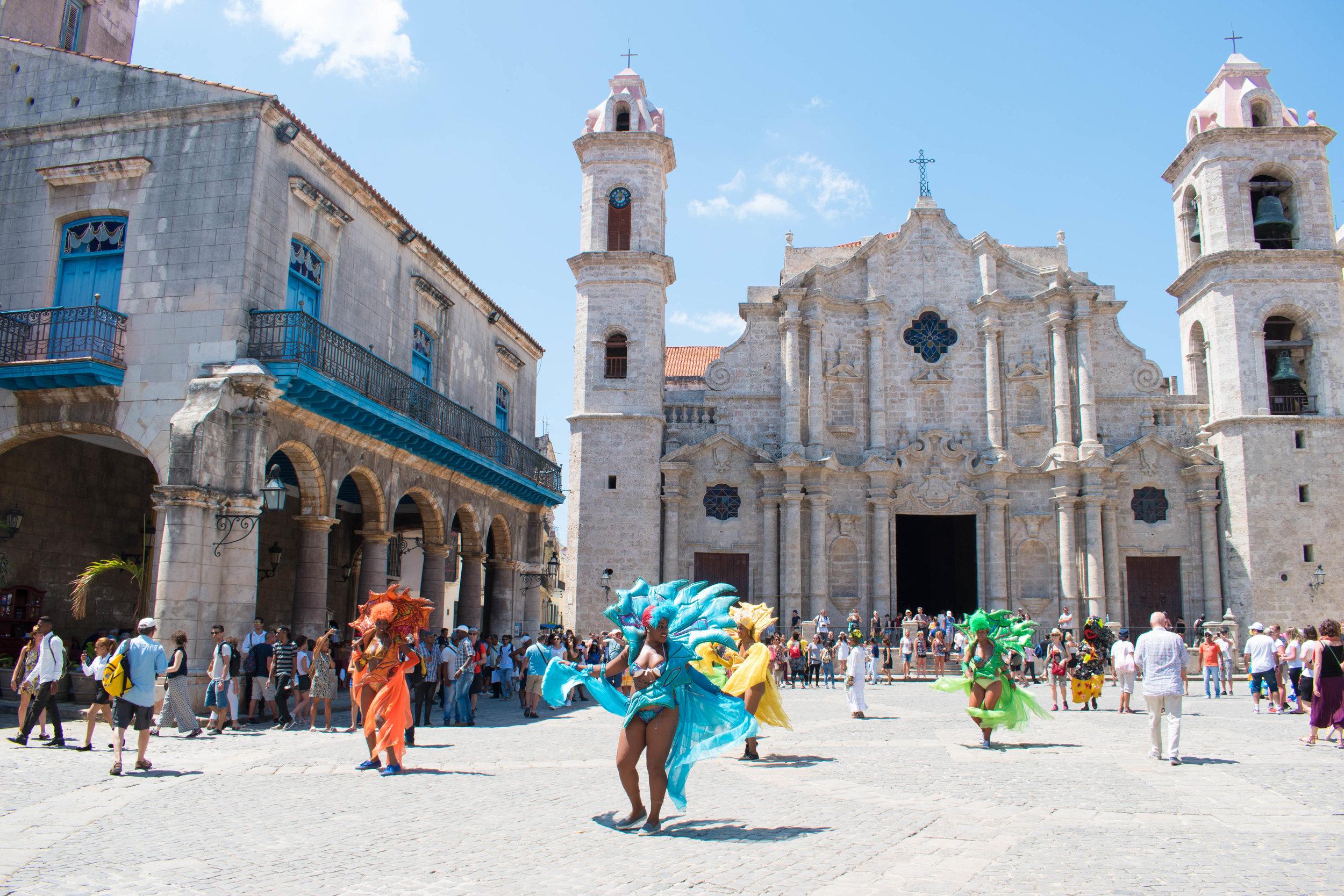 Dancing Locals in the Church Square in Havana, Cuba